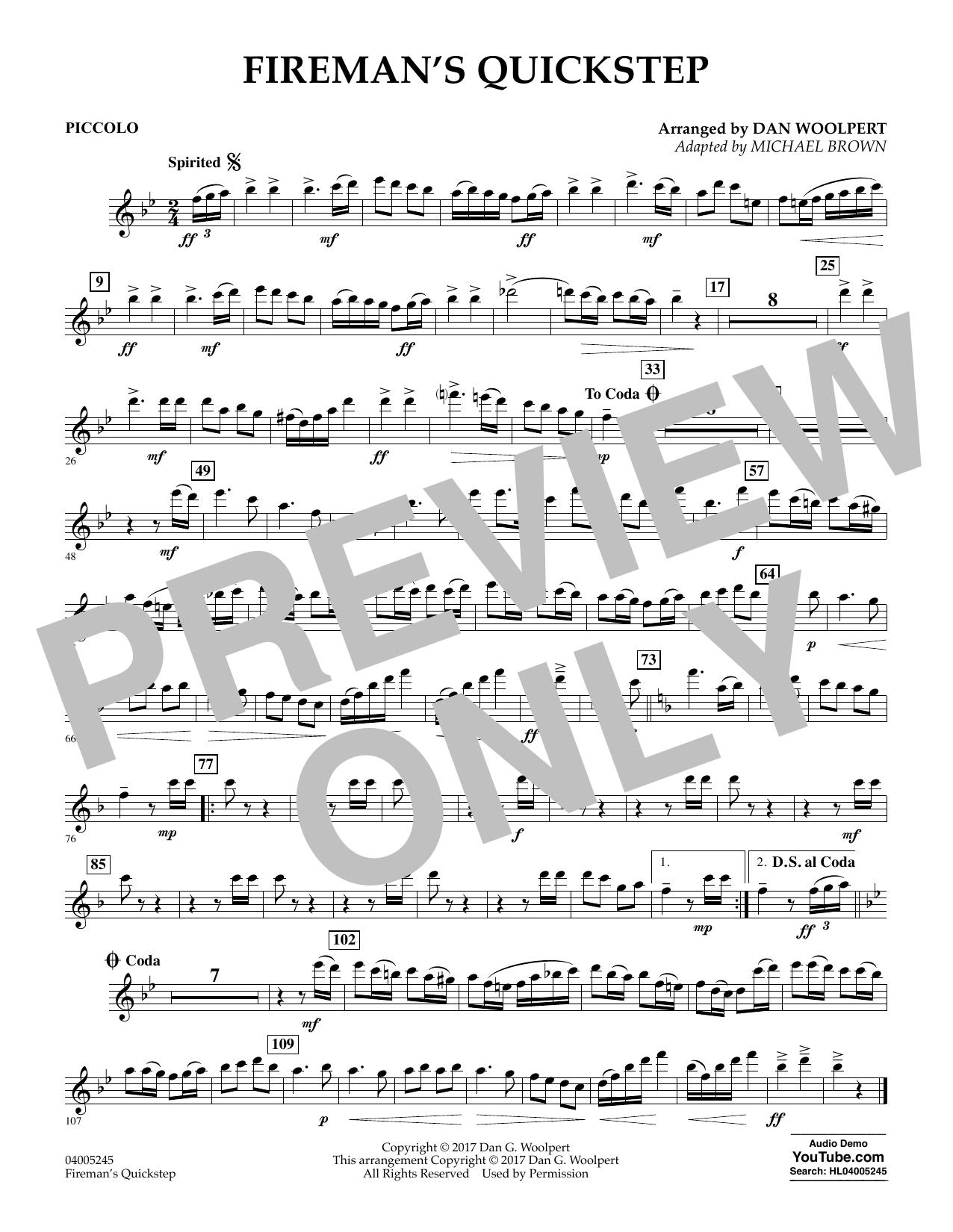 Fireman's Quickstep - Piccolo (Concert Band)