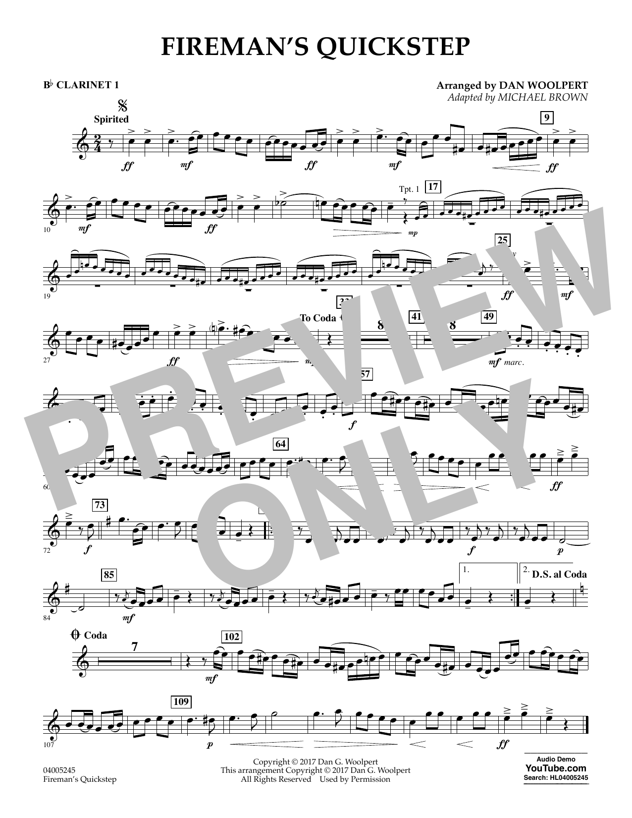 Fireman's Quickstep - Bb Clarinet 1 (Concert Band)