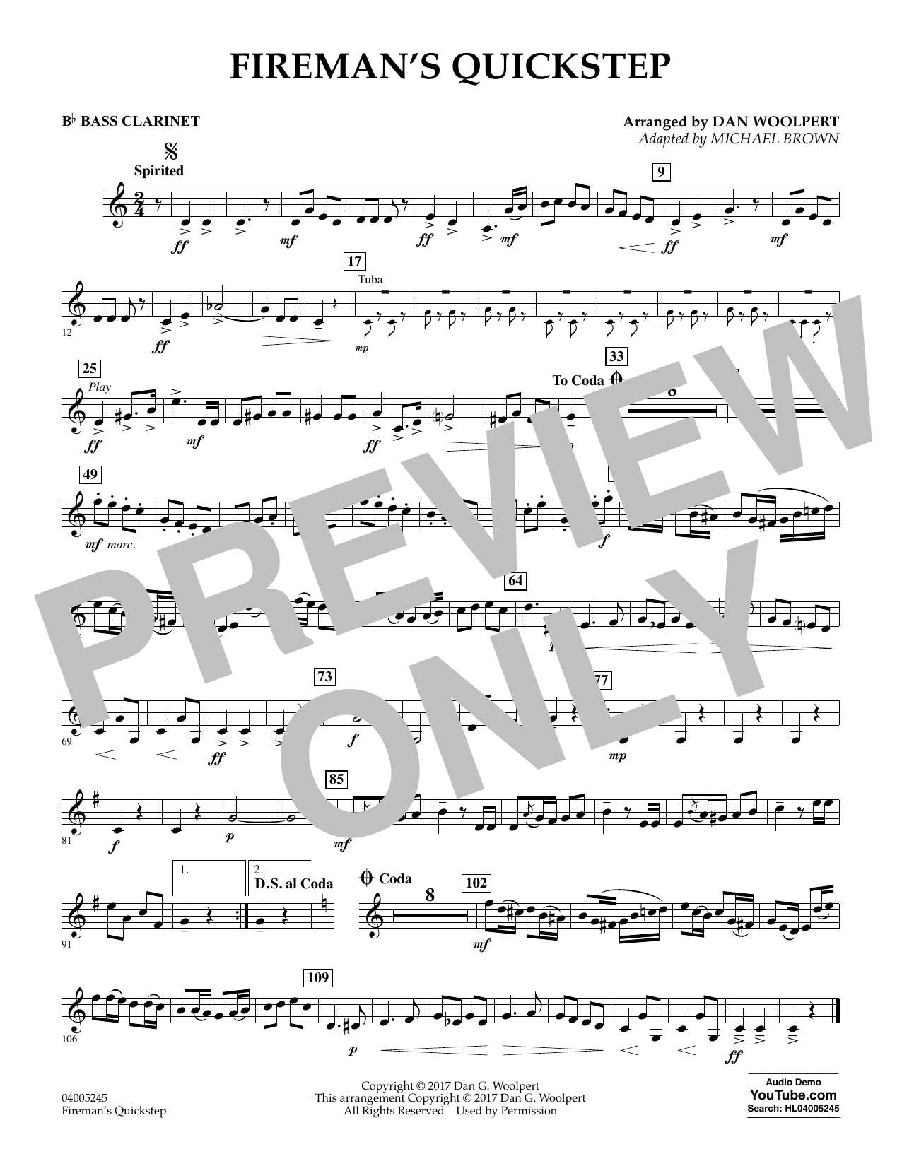 Fireman's Quickstep - Bb Bass Clarinet (Concert Band)