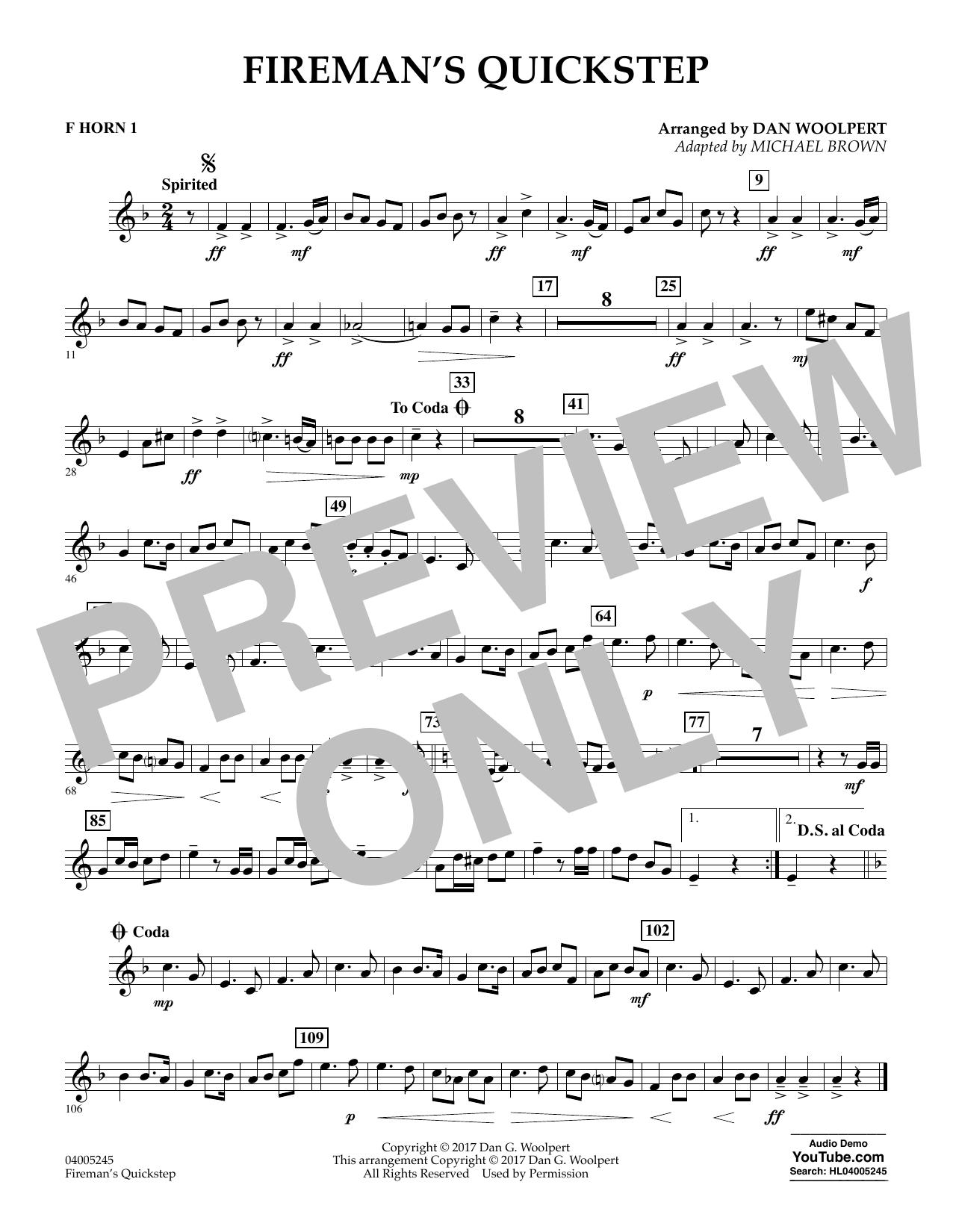 Fireman's Quickstep - F Horn 1 (Concert Band)