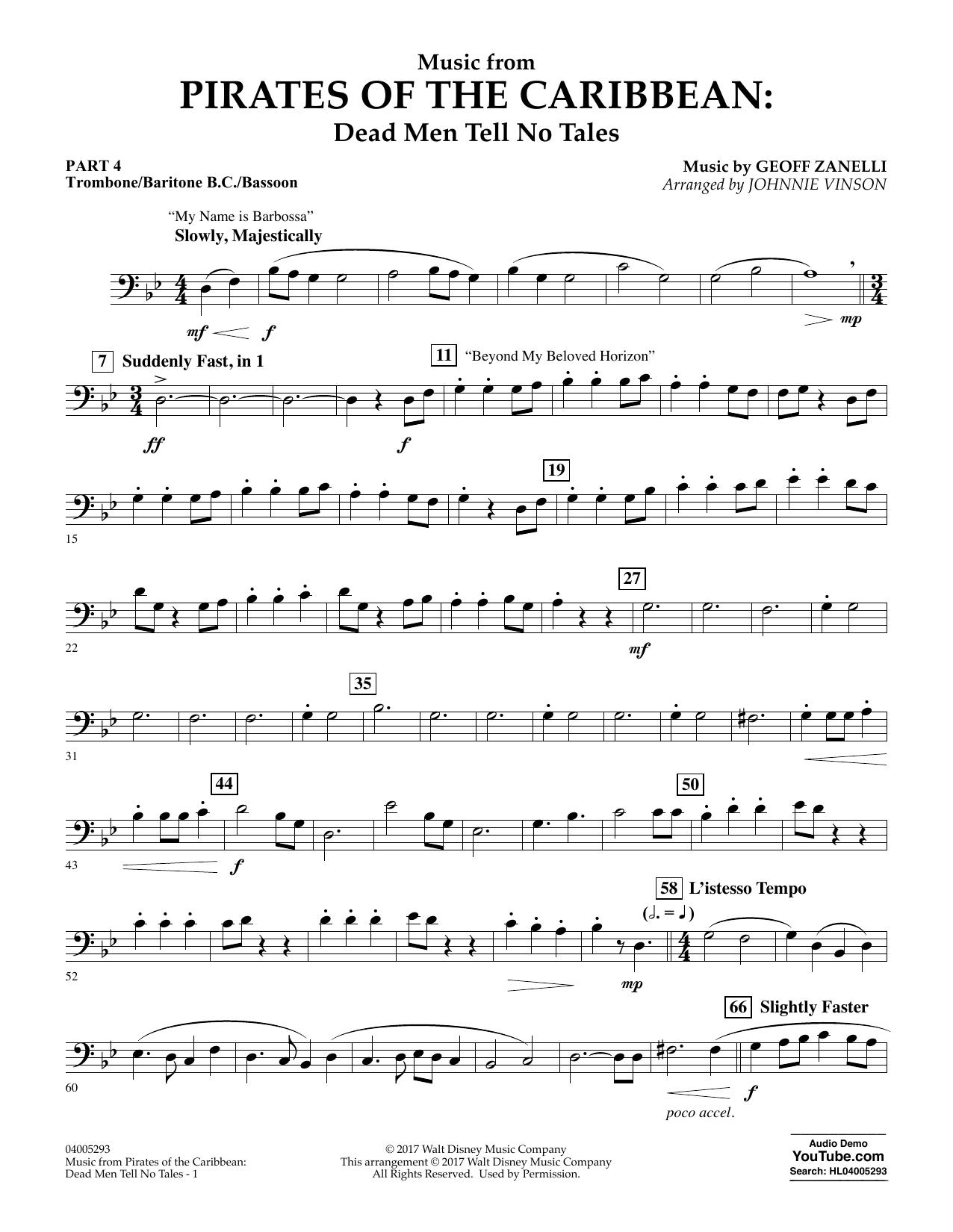 Music from Pirates of the Caribbean: Dead Men Tell No Tales - Pt.4 - Trombone/Bar. B.C./Bsn. (Flex-Band)