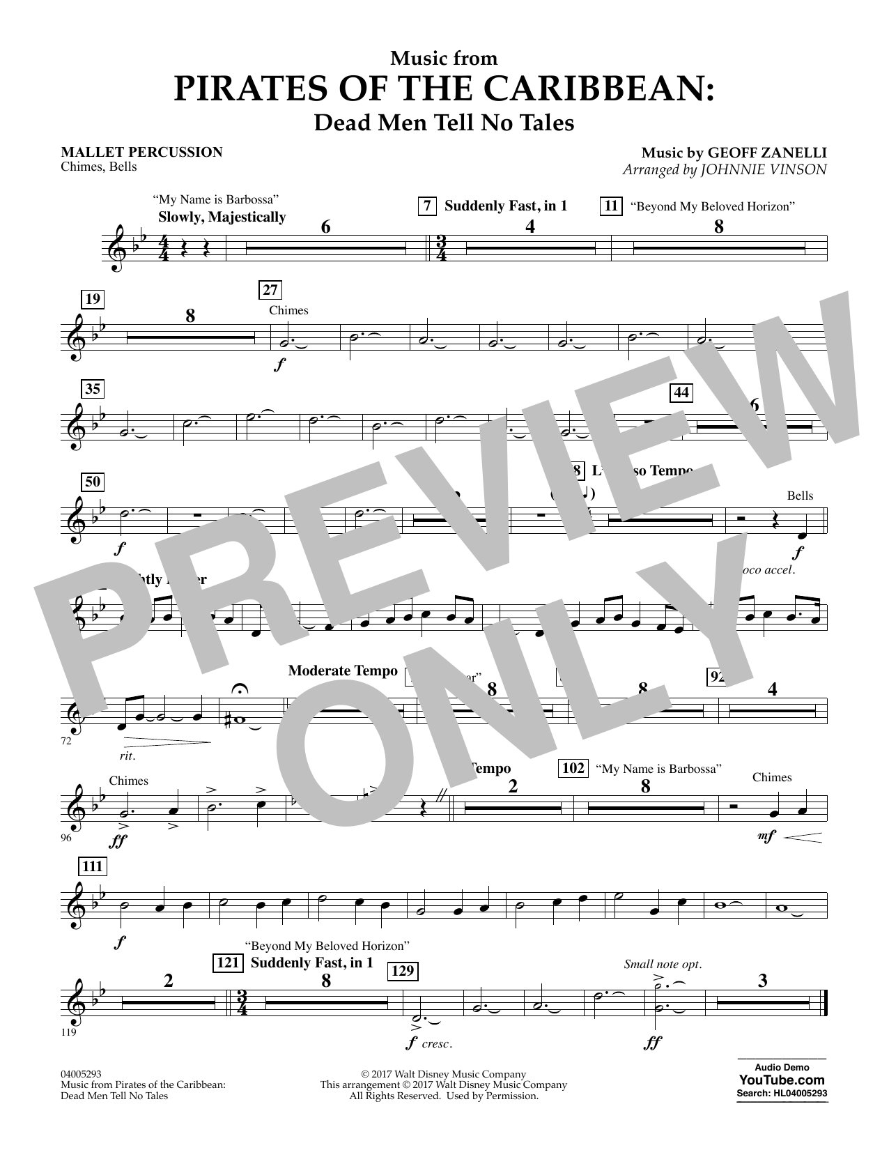 Music from Pirates of the Caribbean: Dead Men Tell No Tales - Mallet Percussion (Flex-Band)