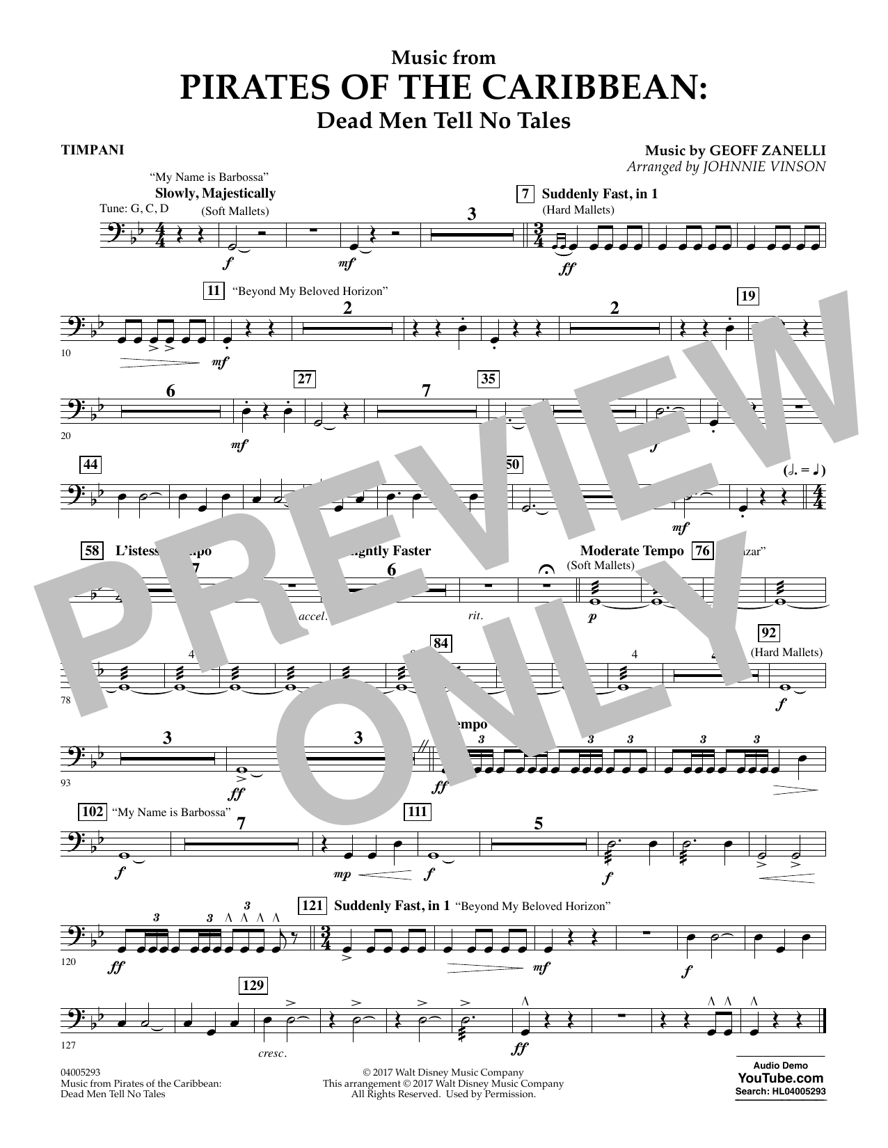 Music from Pirates of the Caribbean: Dead Men Tell No Tales - Timpani (Flex-Band)