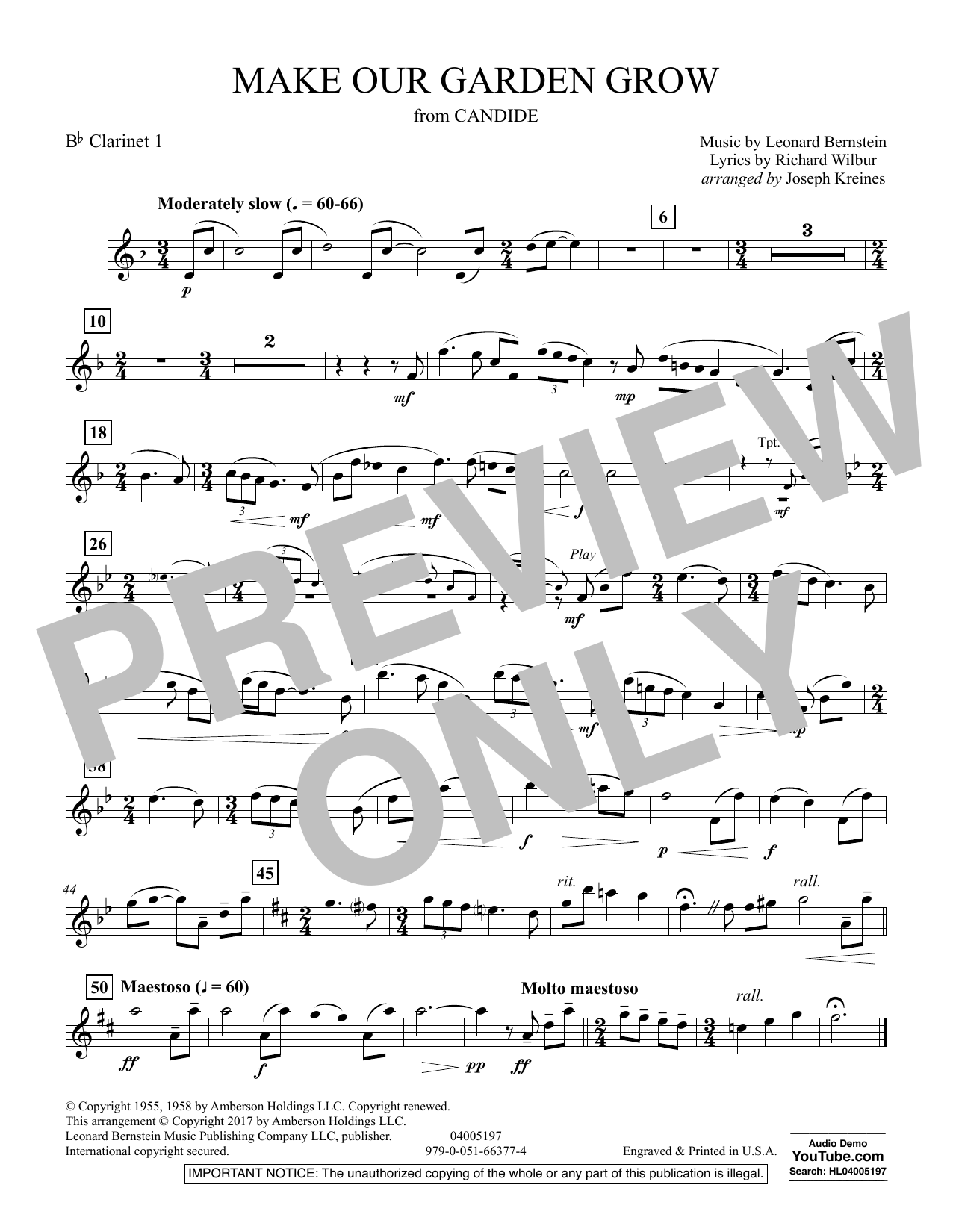 Make Our Garden Grow (from Candide) - Bb Clarinet 1 (Concert Band)