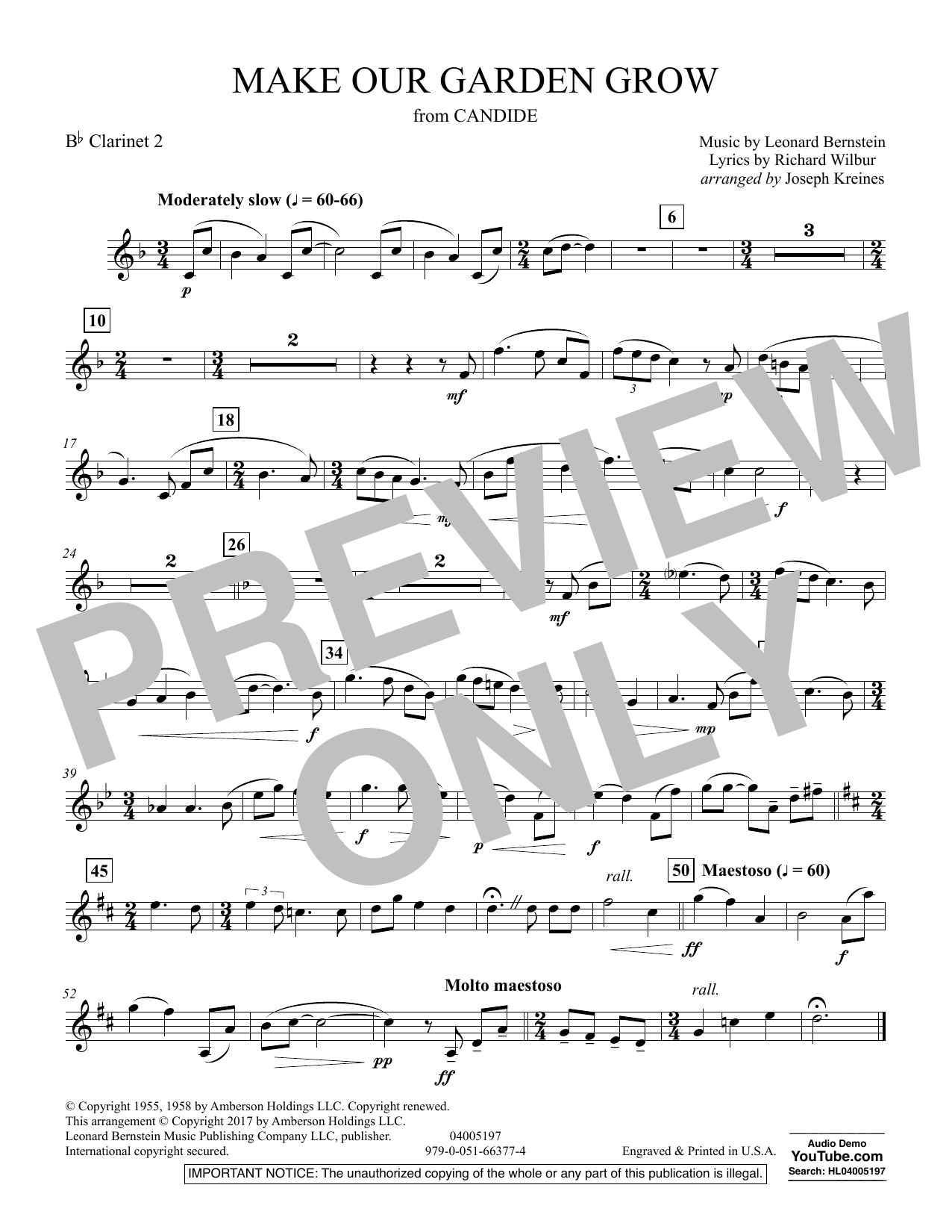 Make Our Garden Grow (from Candide) - Bb Clarinet 2 (Concert Band)