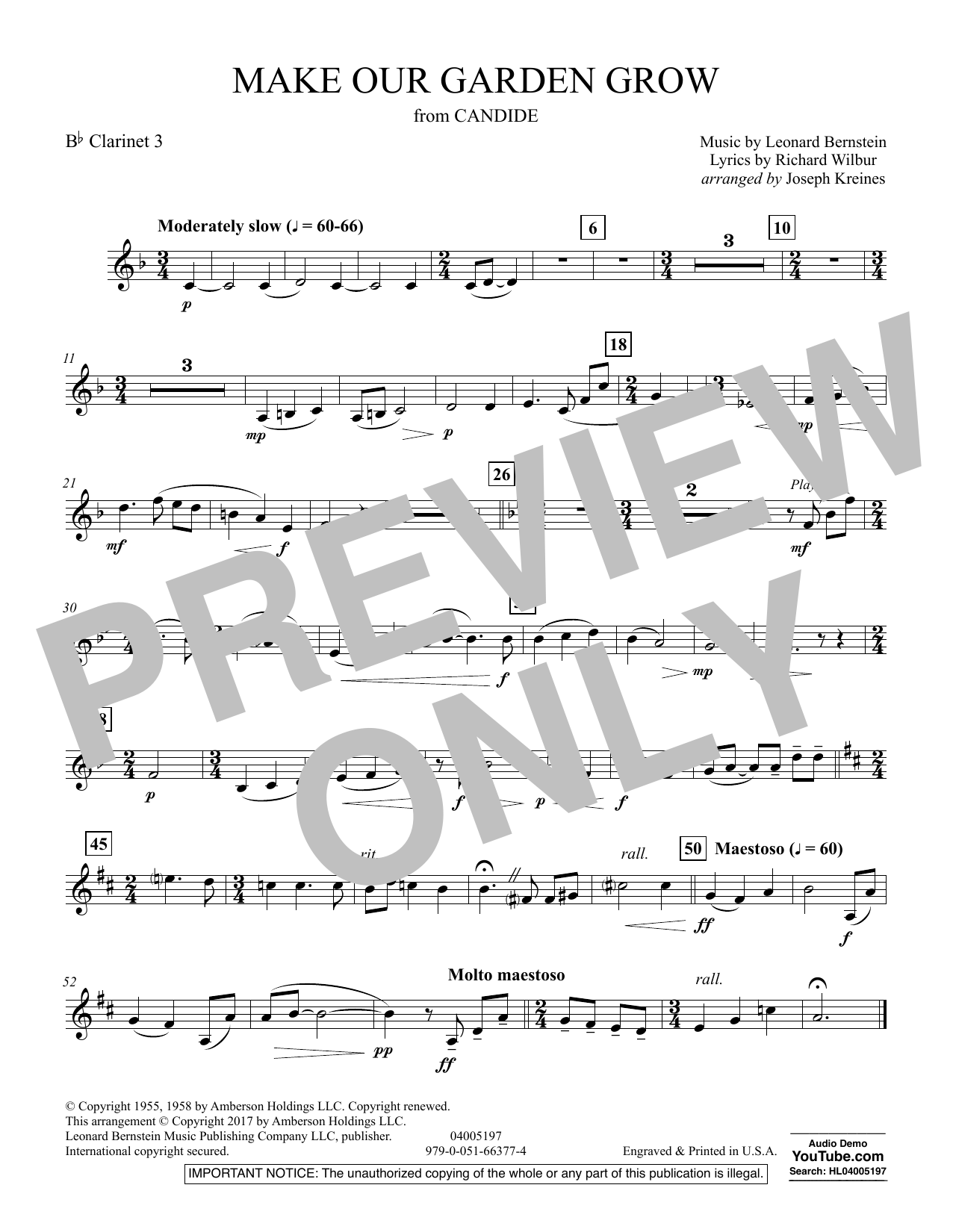 Make Our Garden Grow (from Candide) - Bb Clarinet 3 (Concert Band)