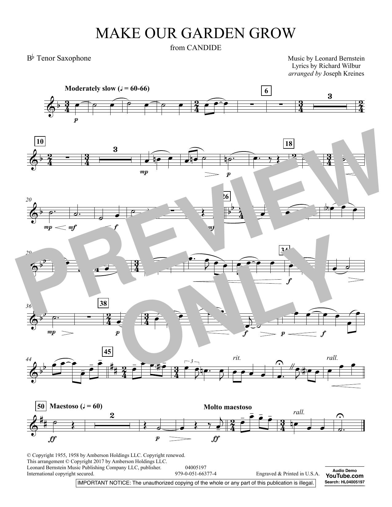 Make Our Garden Grow (from Candide) - Bb Tenor Saxophone (Concert Band)