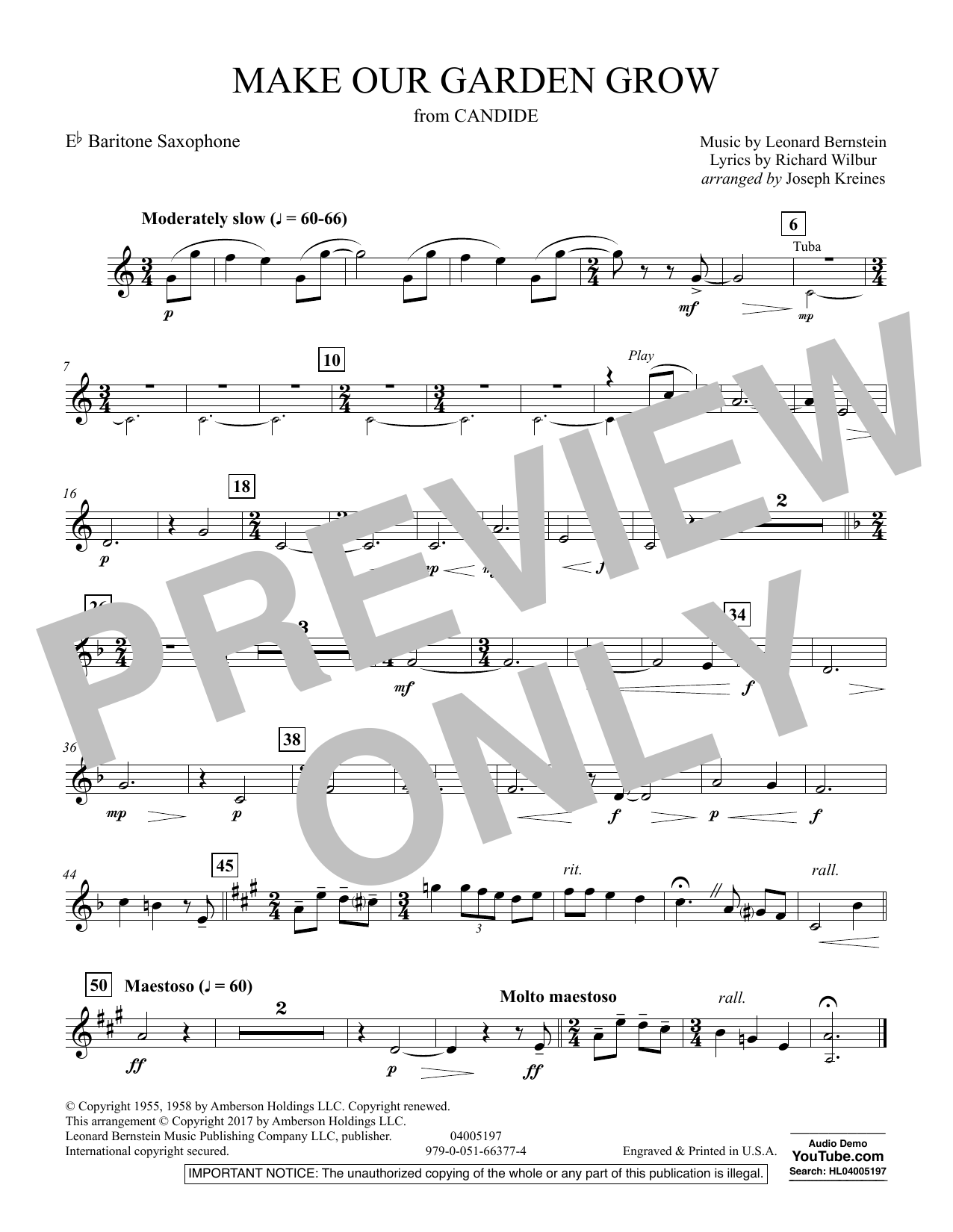 Make Our Garden Grow (from Candide) - Eb Baritone Saxophone (Concert Band)