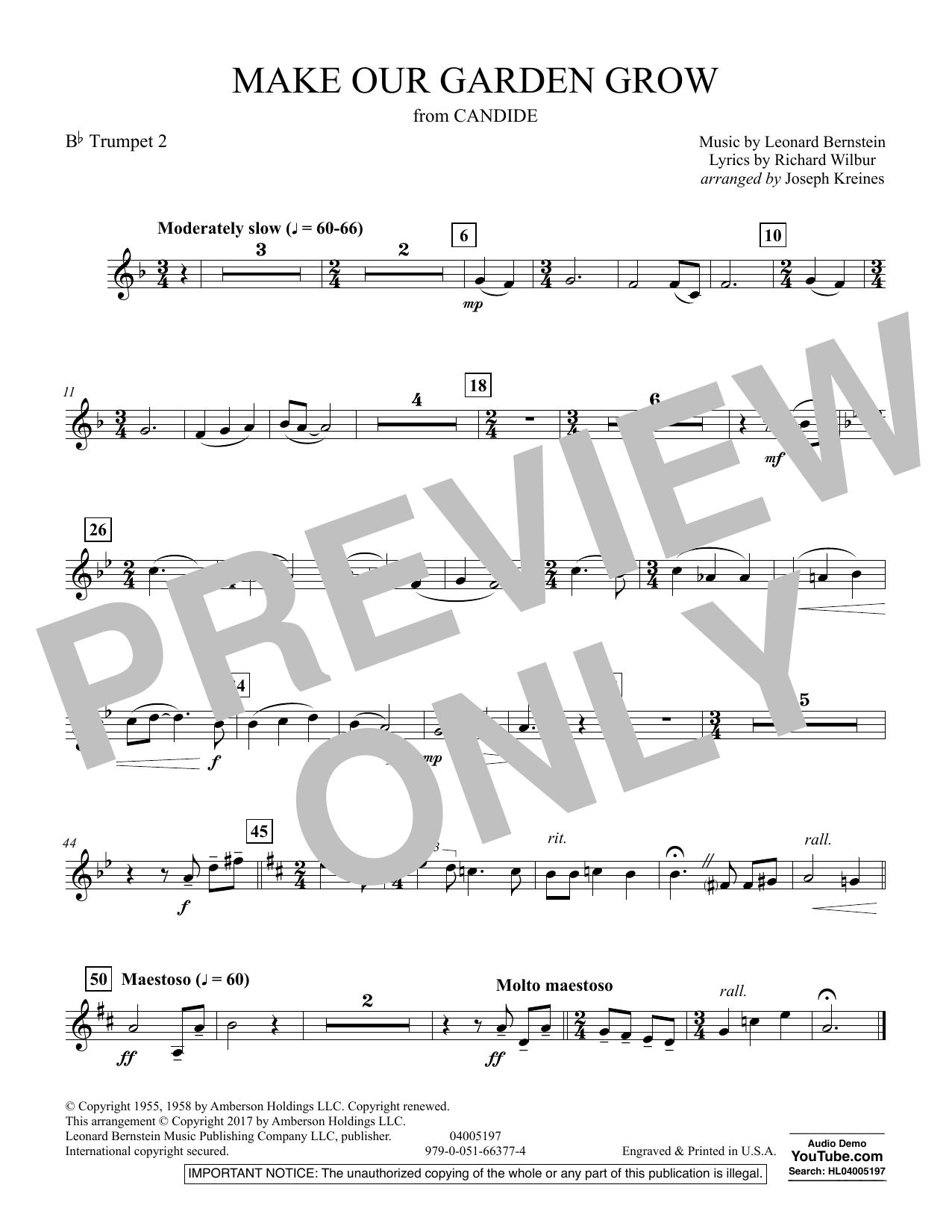 Make Our Garden Grow (from Candide) - Bb Trumpet 2 (Concert Band)
