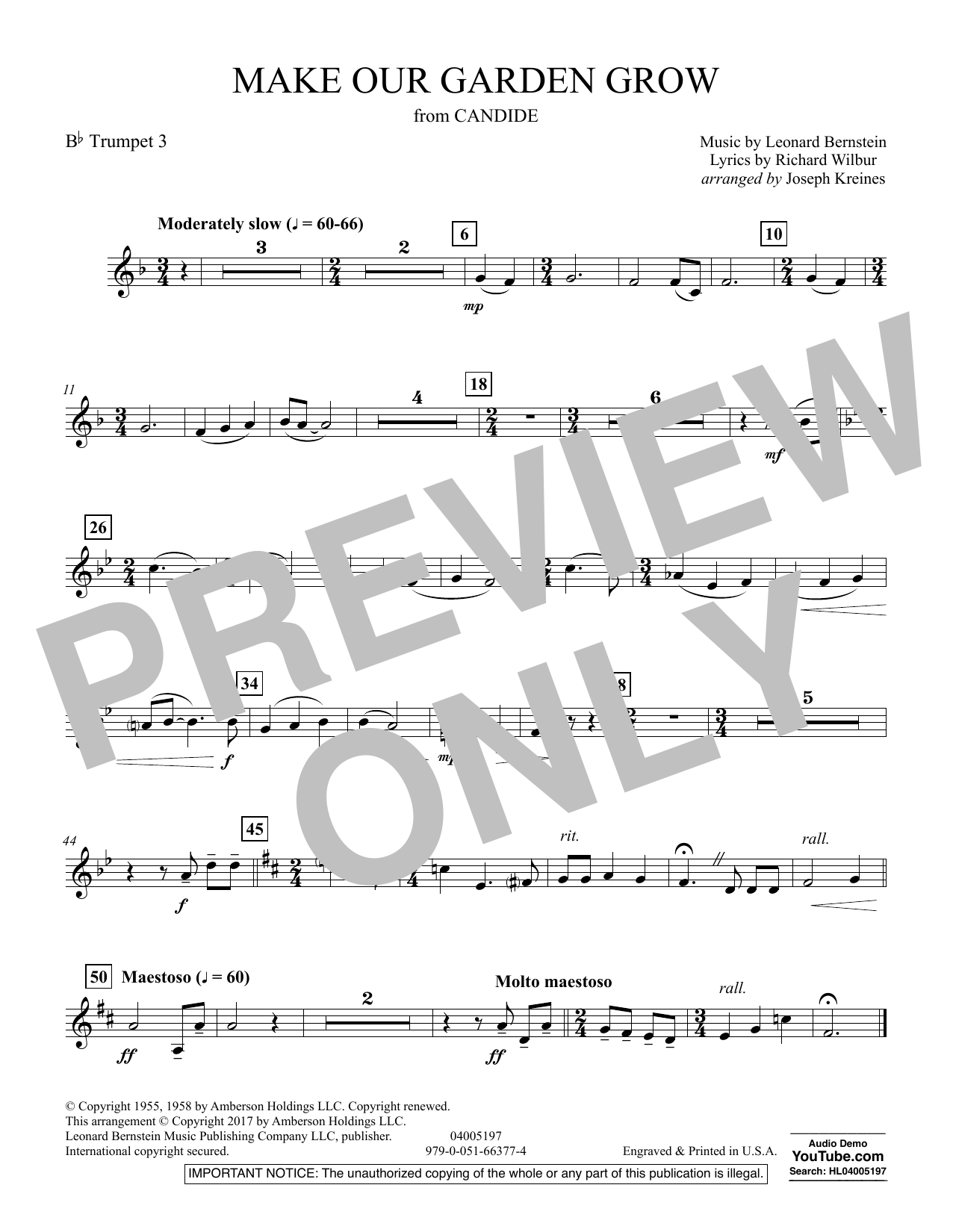 Make Our Garden Grow (from Candide) - Bb Trumpet 3 (Concert Band)