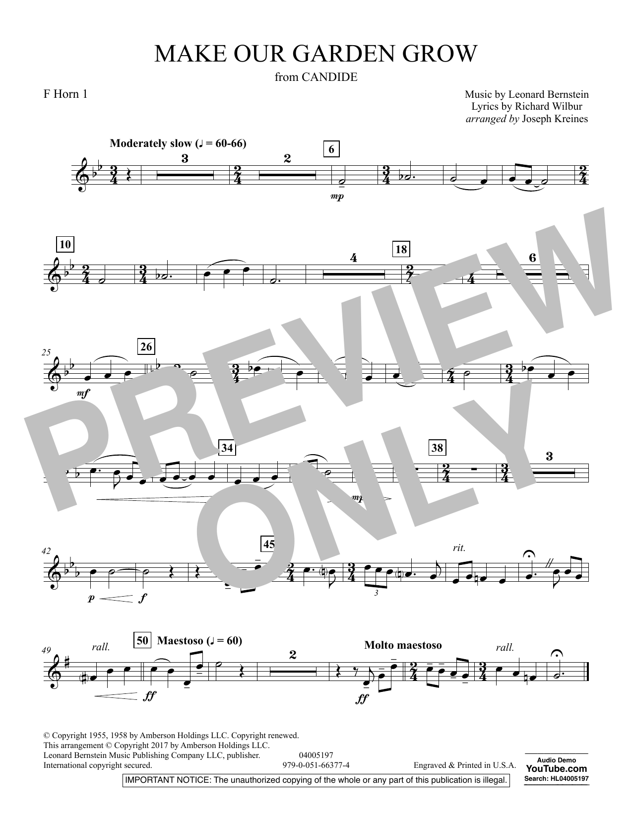Make Our Garden Grow (from Candide) - F Horn 1 (Concert Band)