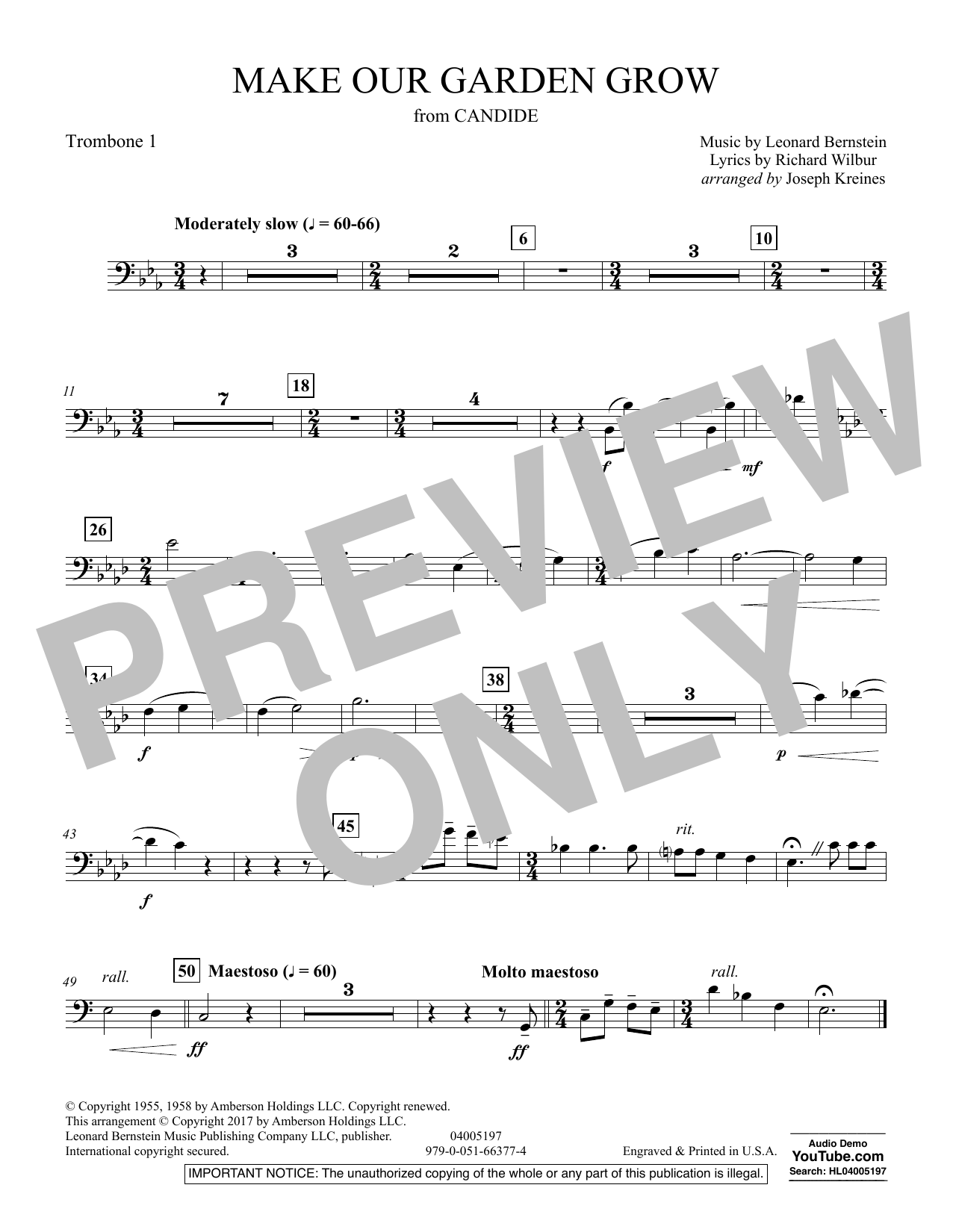 Make Our Garden Grow (from Candide) - Trombone 1 (Concert Band)