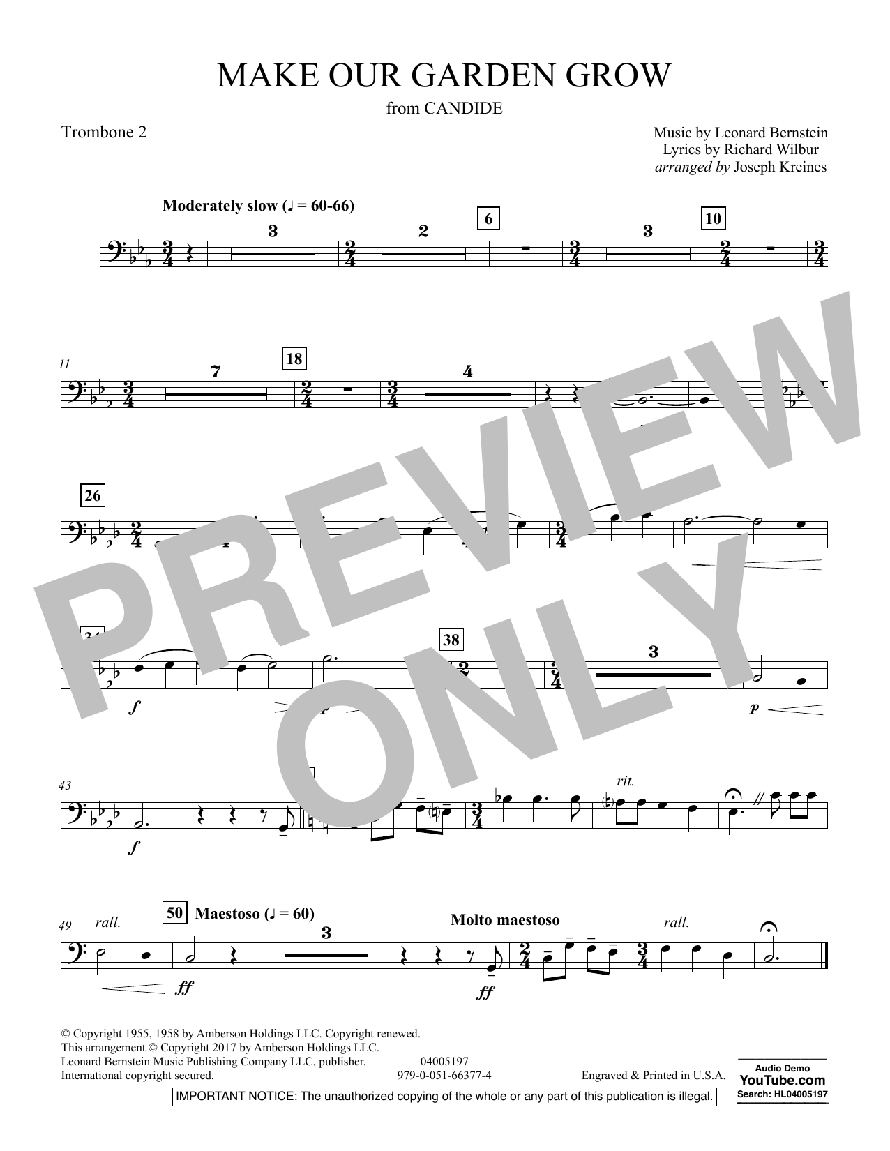 Make Our Garden Grow (from Candide) - Trombone 2 (Concert Band)