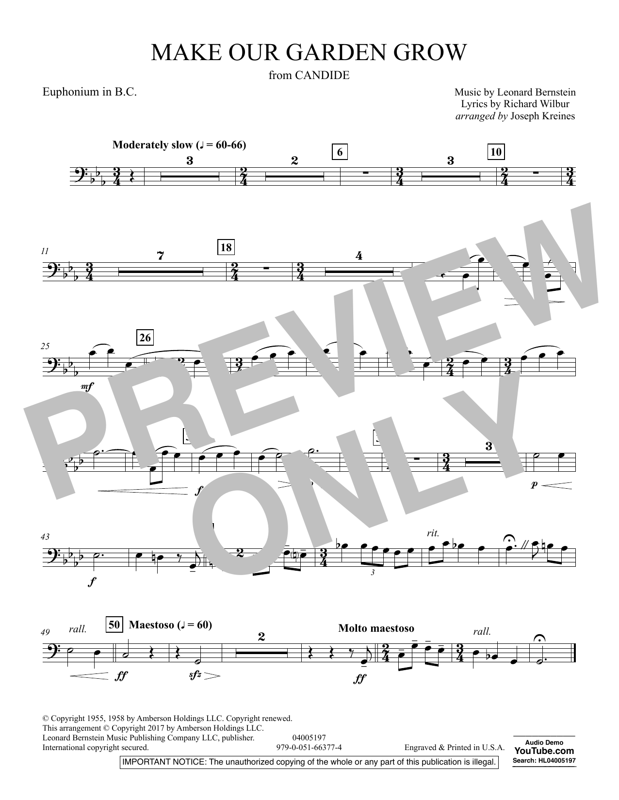 Make Our Garden Grow (from Candide) - Euphonium in Bass Clef (Concert Band)