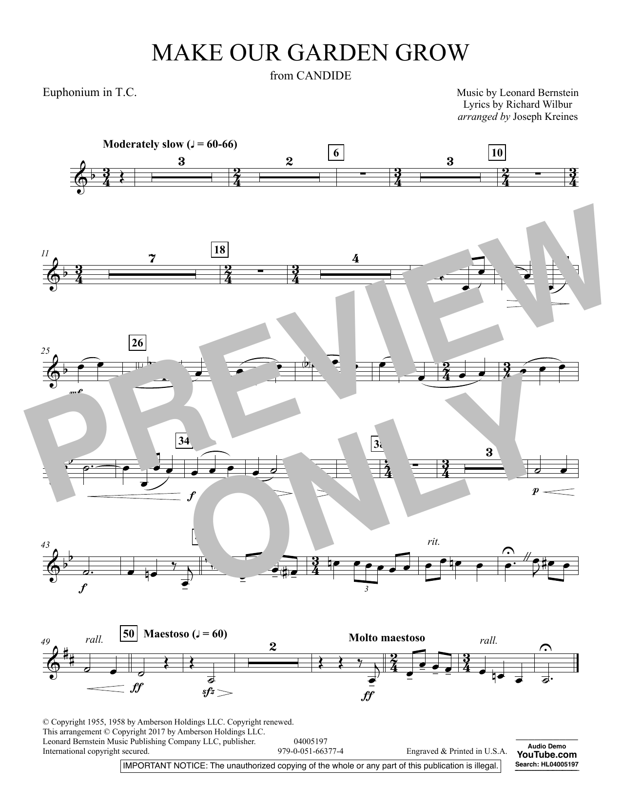 Make Our Garden Grow (from Candide) - Euphonium in Treble Clef (Concert Band)