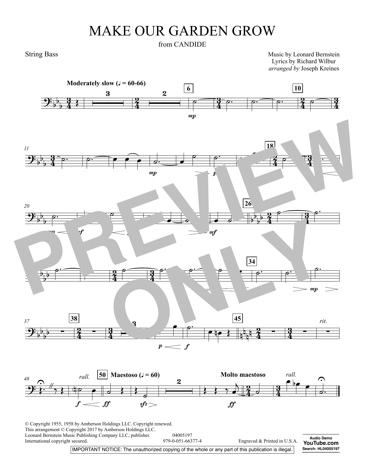 Make Our Garden Grow (from Candide) - String Bass (Concert Band)