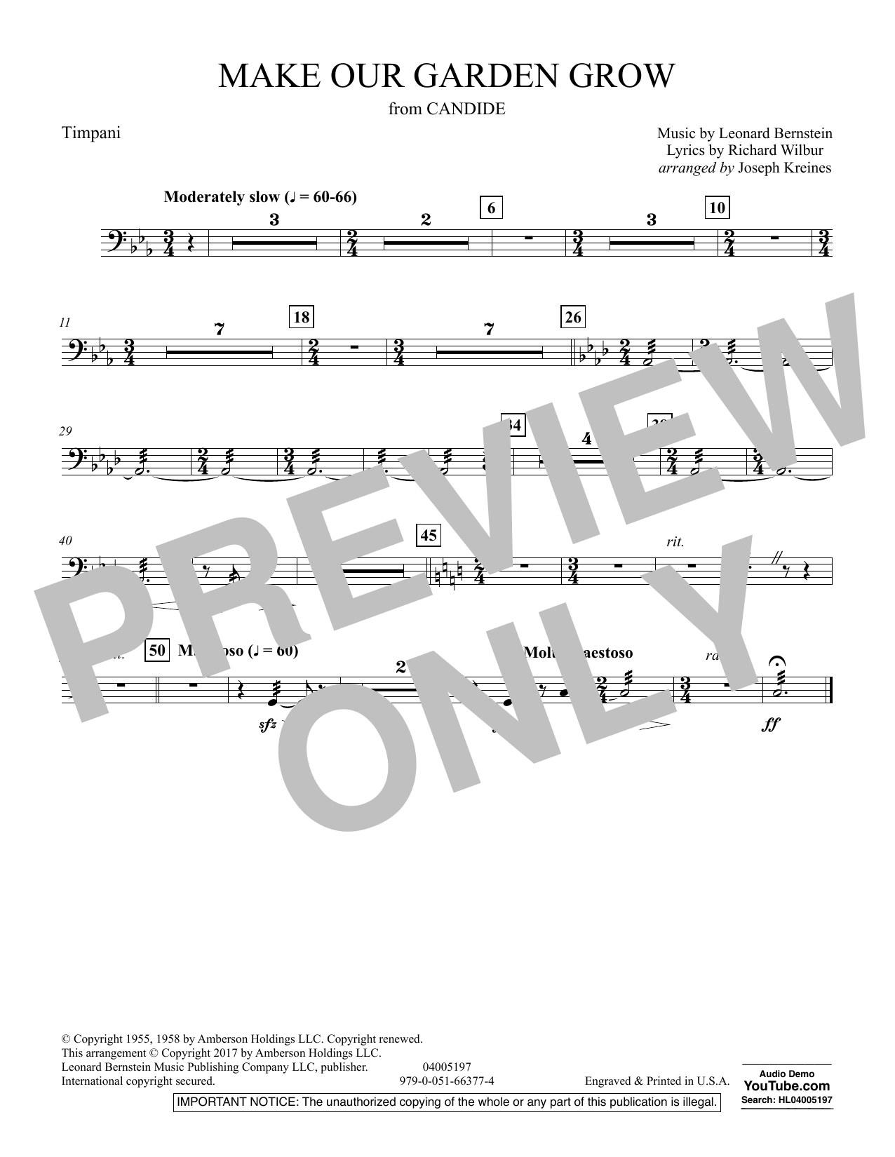 Make Our Garden Grow (from Candide) - Timpani (Concert Band)