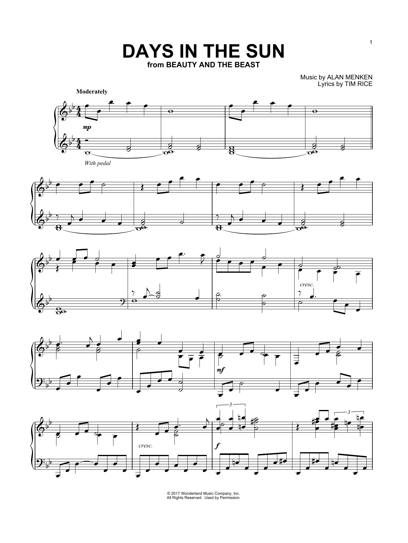 Days In The Sun (from Beauty And The Beast) (Piano Solo)