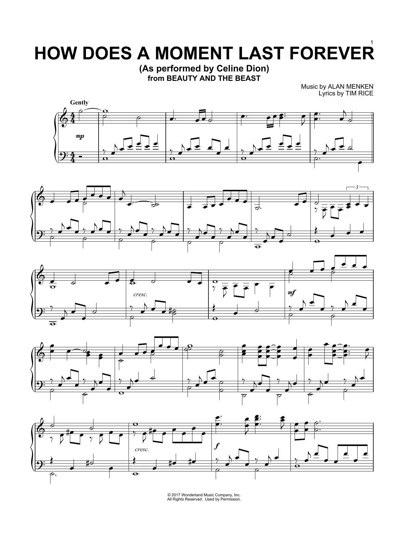 How Does A Moment Last Forever (Piano Solo)