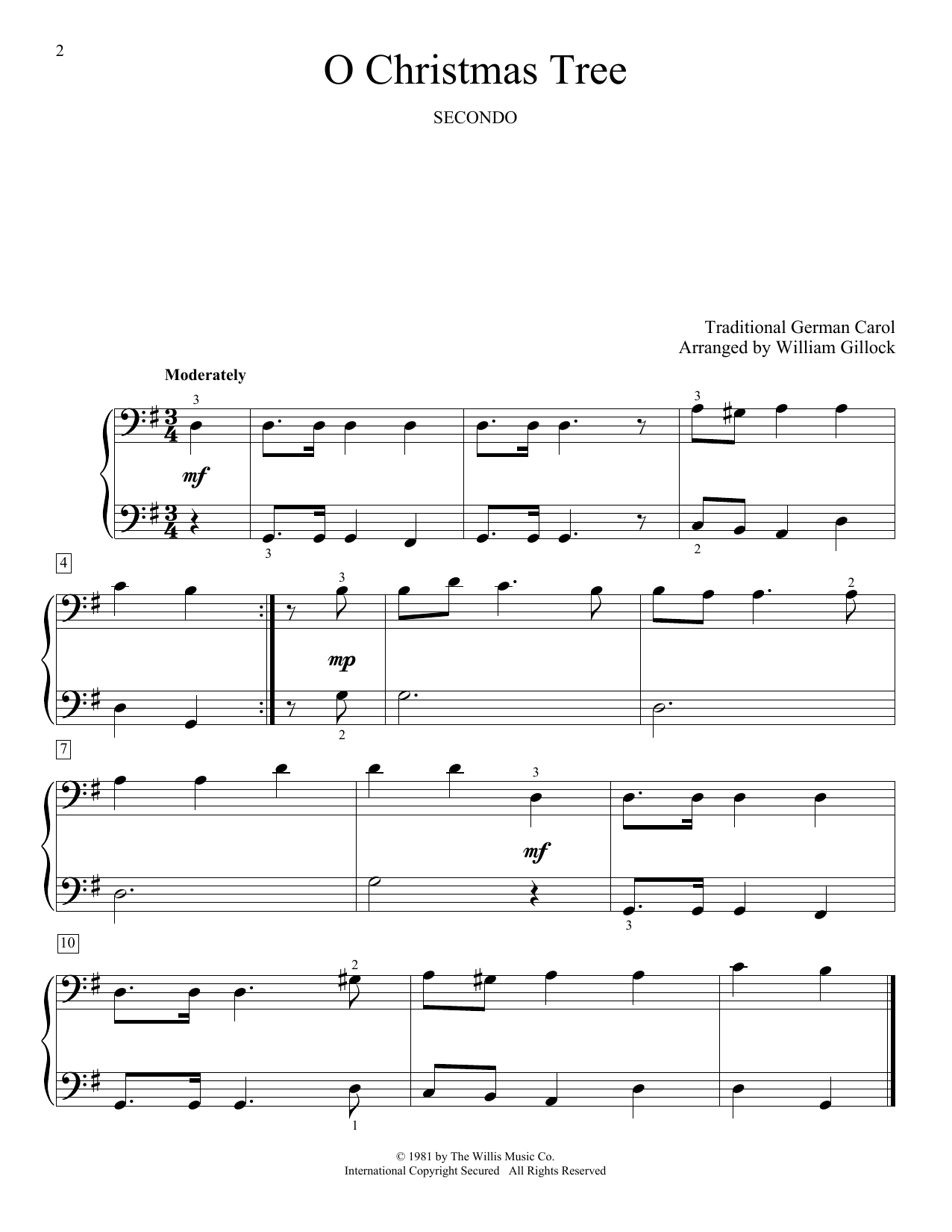 O Christmas Tree Sheet Music | William Gillock | Piano Duet