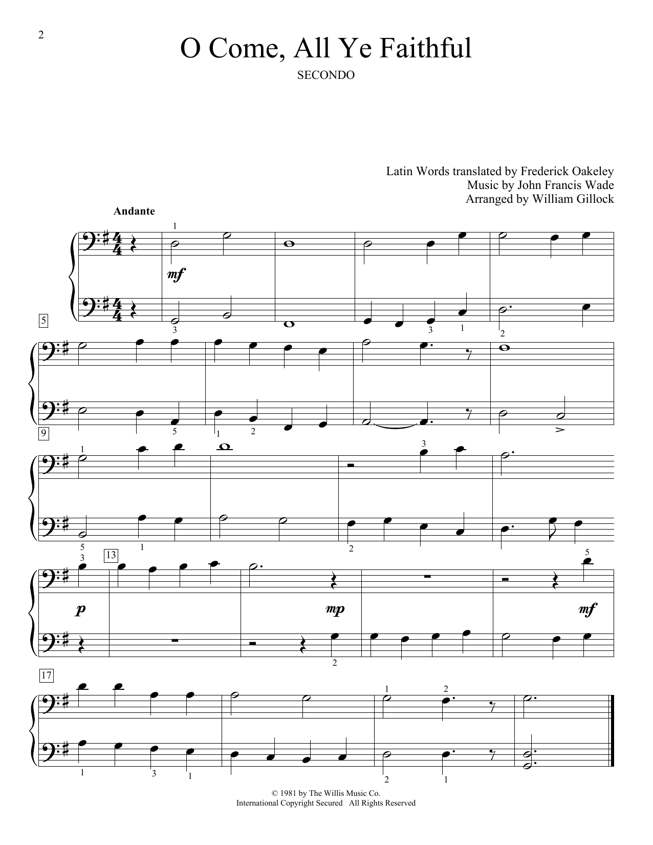 O Come, All Ye Faithful (Adeste Fideles) (Piano Duet)