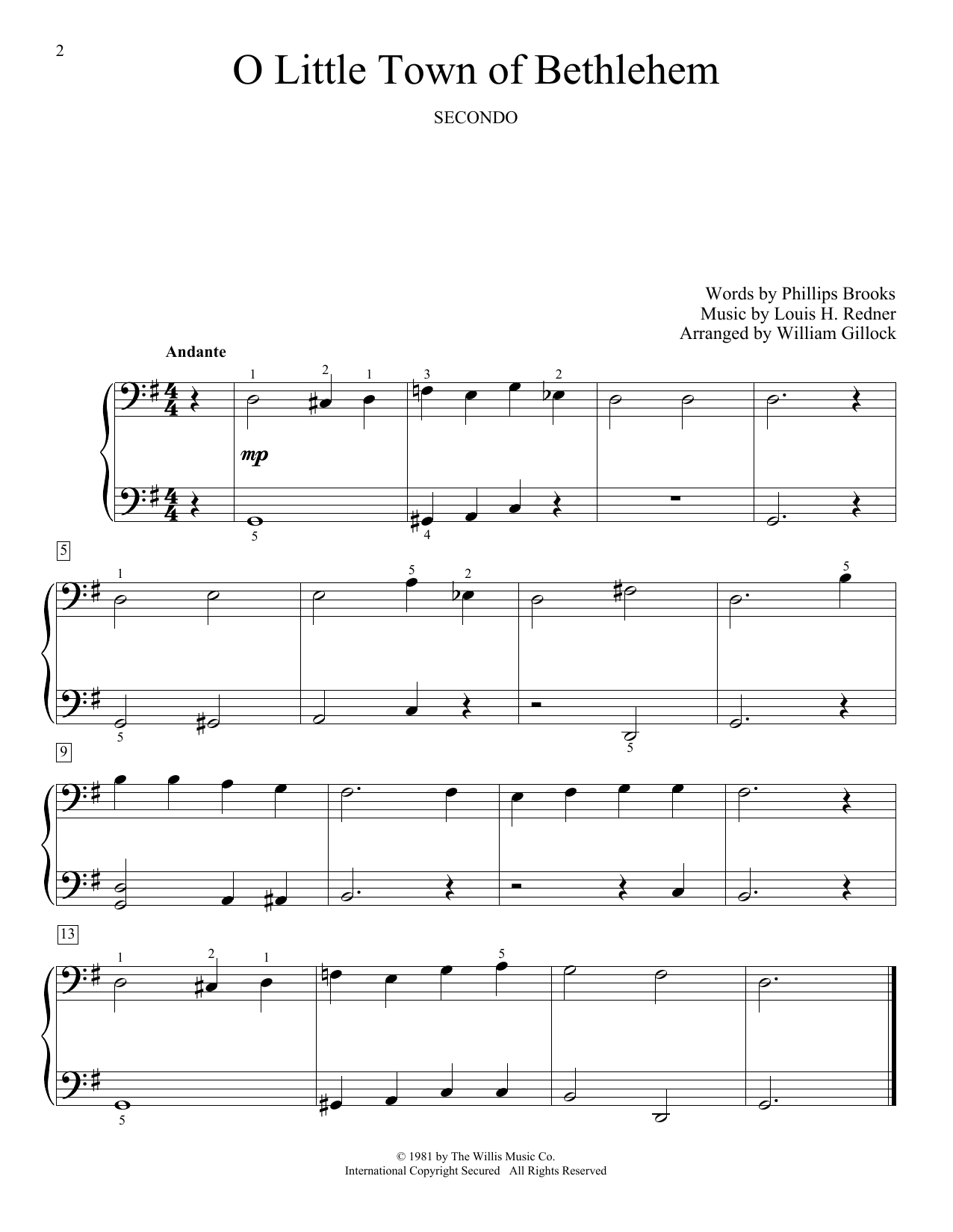 O Little Town Of Bethlehem (Piano Duet)