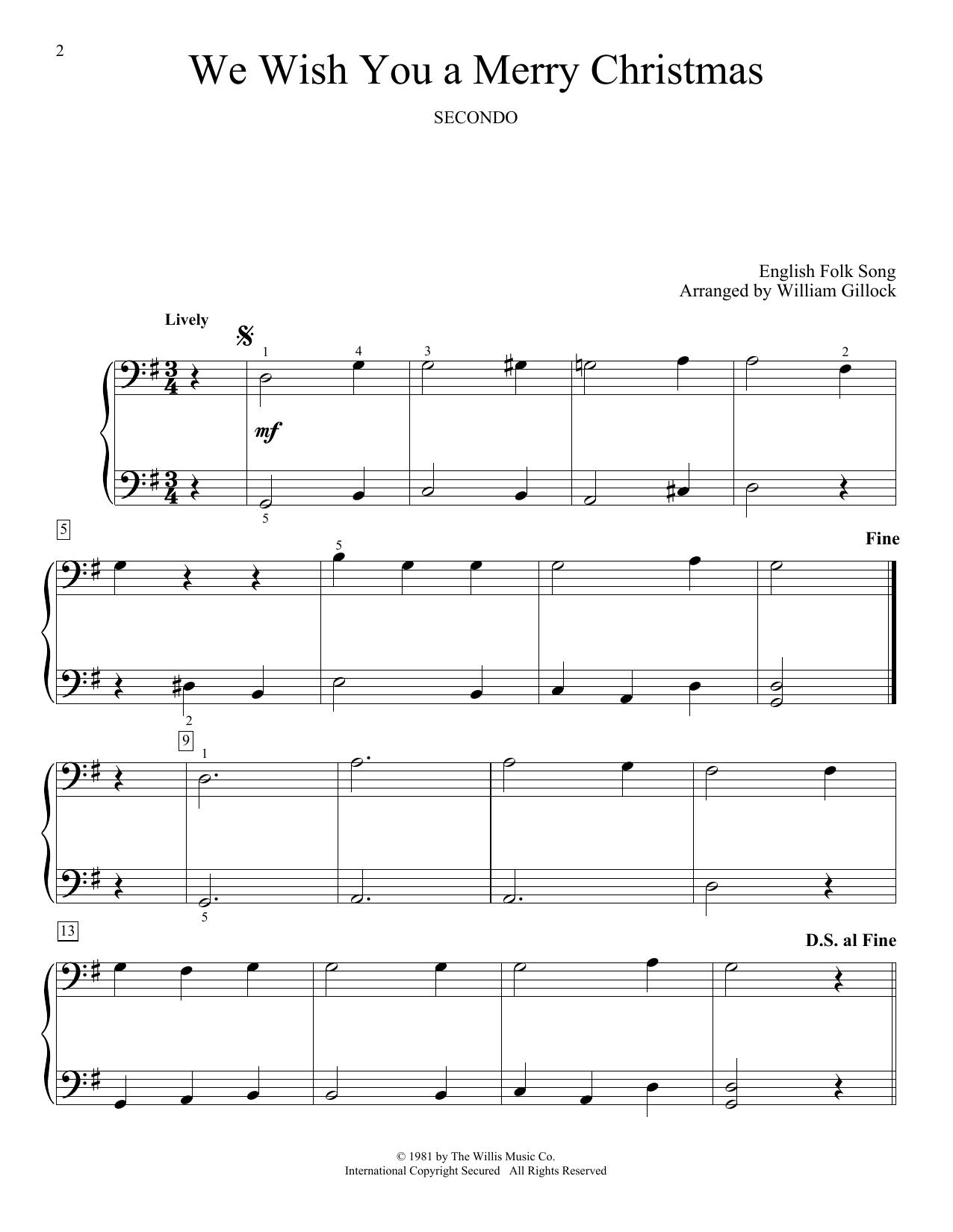 We Wish You A Merry Christmas Print Sheet Music Now