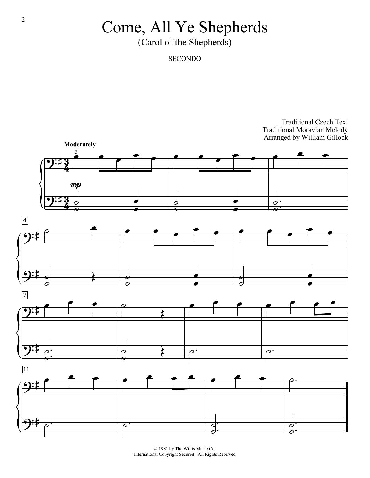 Come, All Ye Shepherds (Carol Of The Shepherds) (Piano Duet)