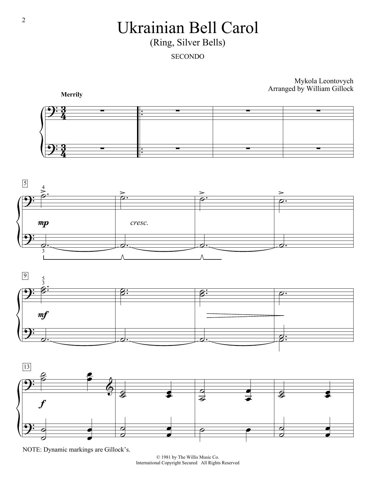 Ukrainian Bell Carol (Ring, Silver Bells) (Piano Duet)