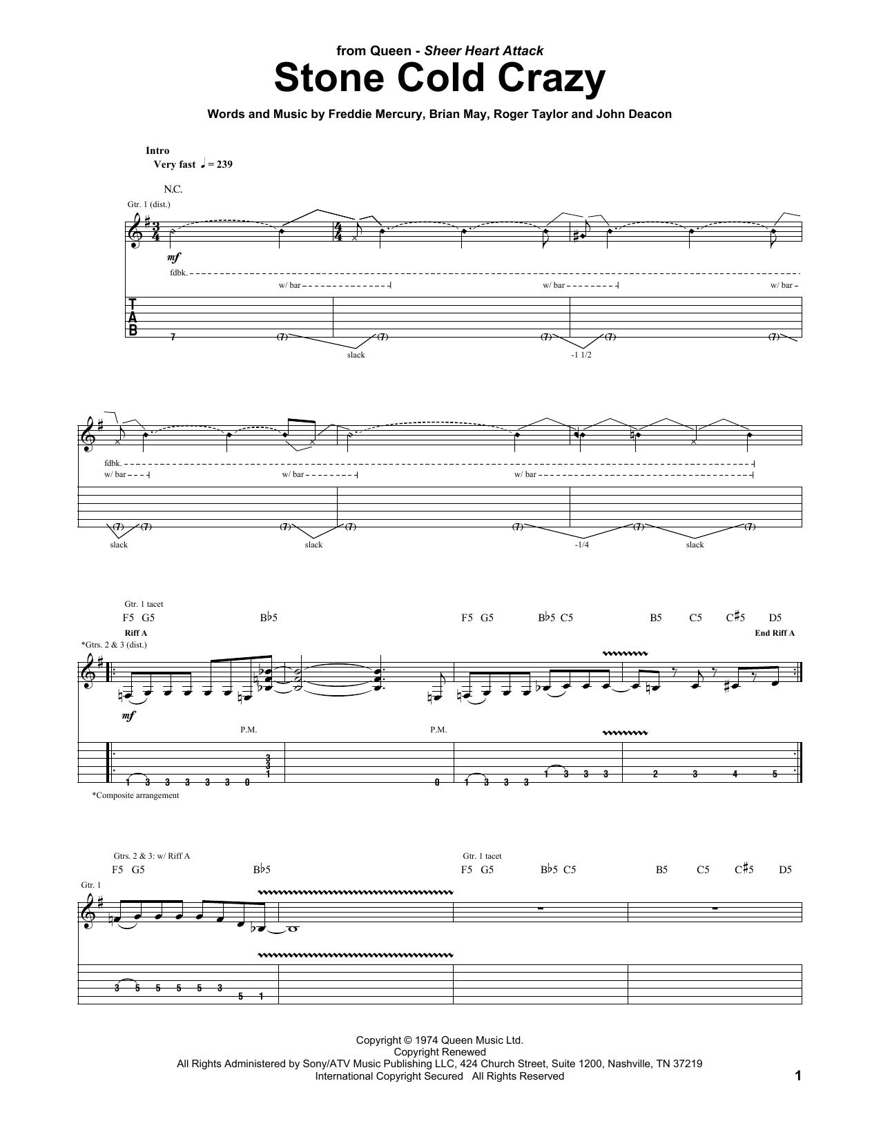 Stone Cold Crazy (Guitar Tab)