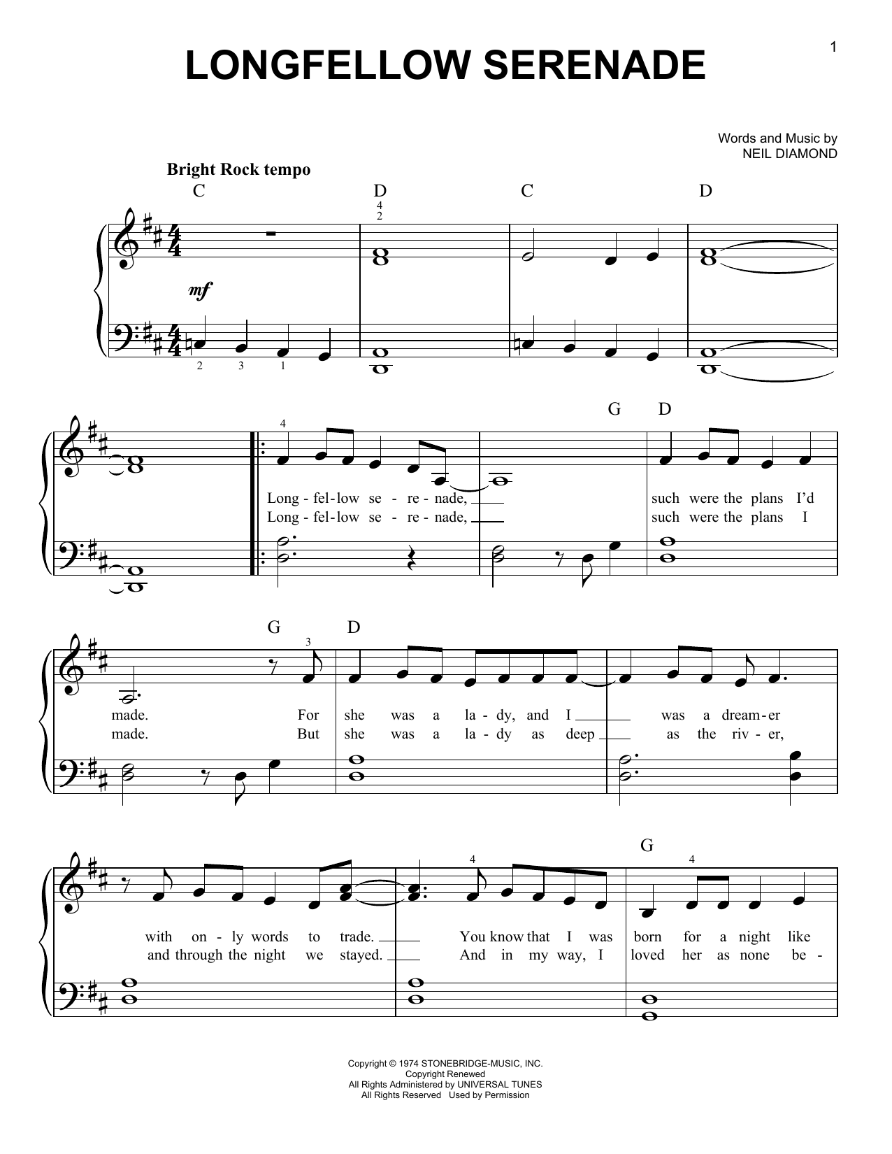 Longfellow Serenade (Easy Piano)