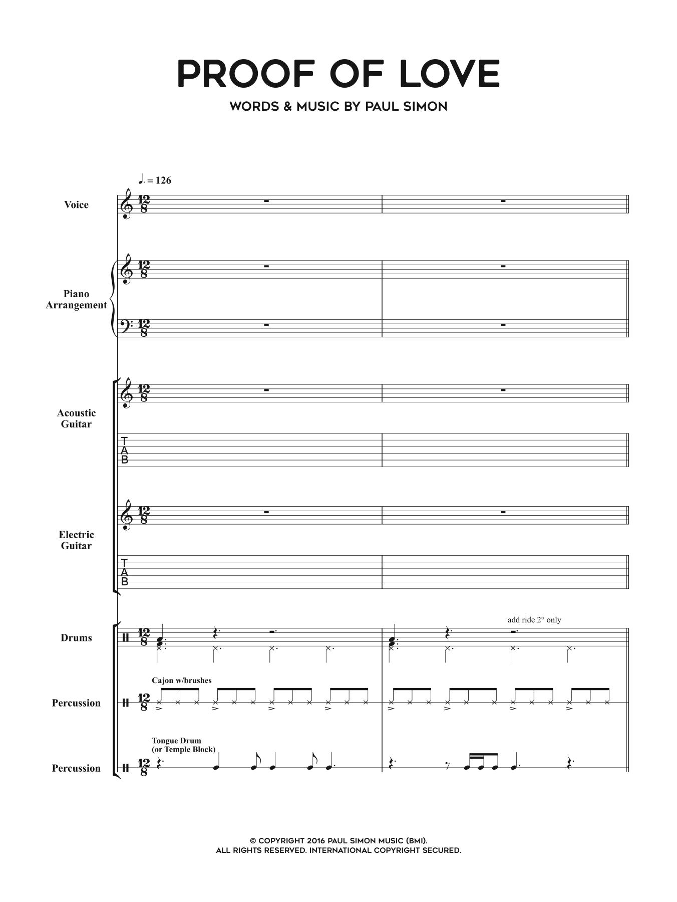 Proof Of Love Sheet Music