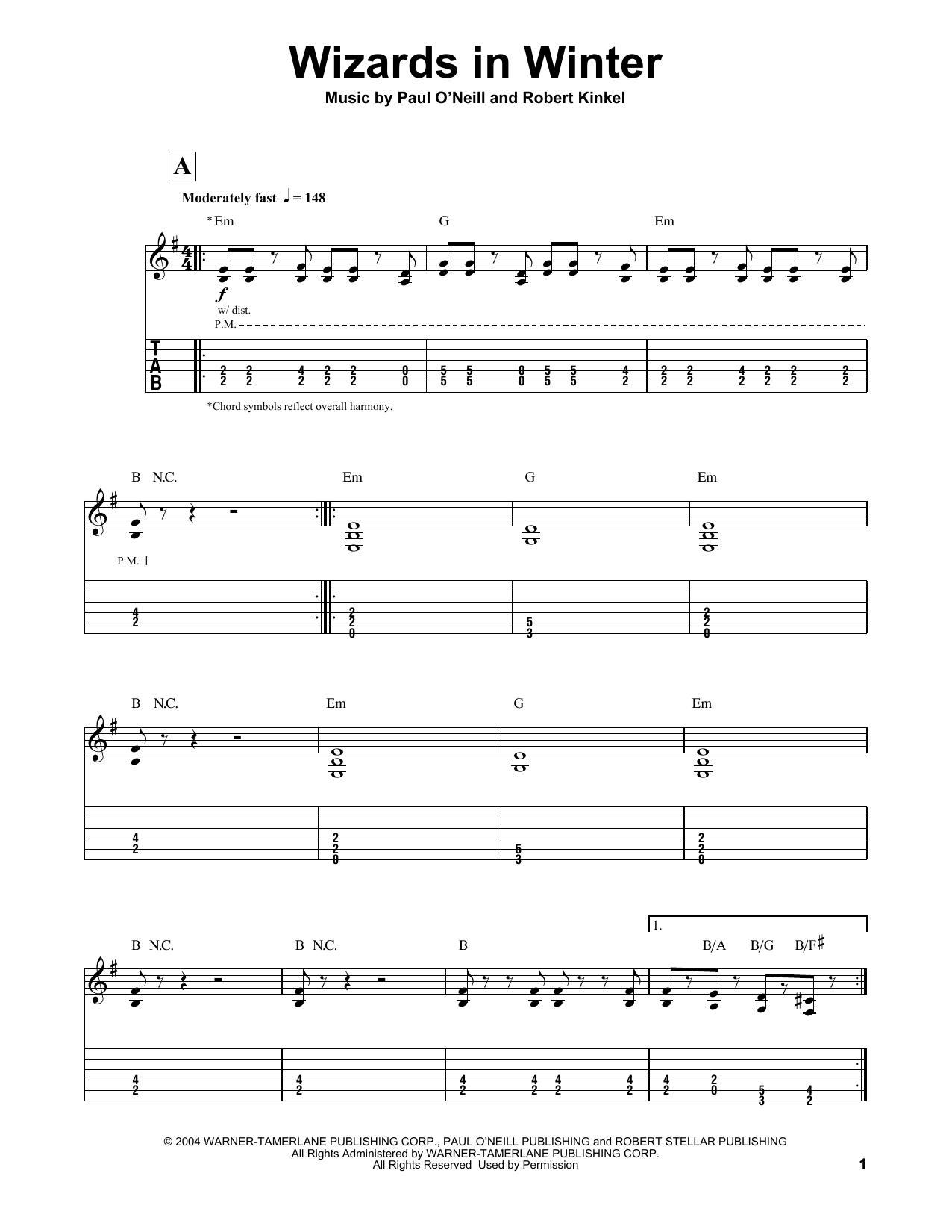 Wizards In Winter Sheet Music