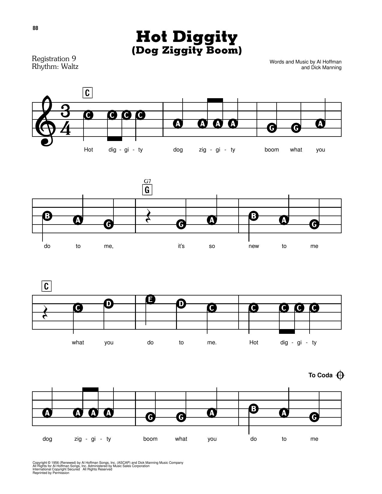 Hot Diggity (Dog Ziggity Boom) Sheet Music