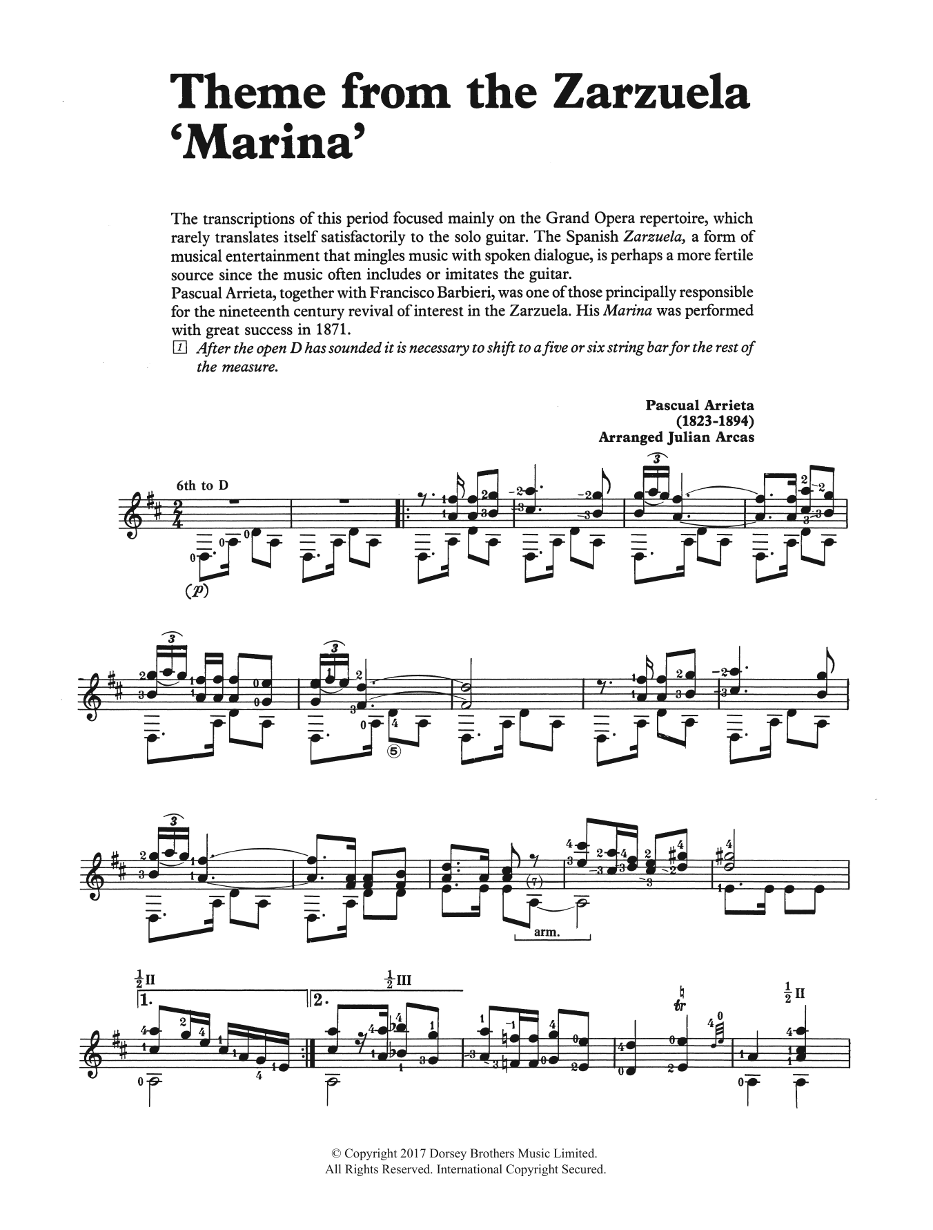 Theme from the Zarzuela 'Marina' Sheet Music