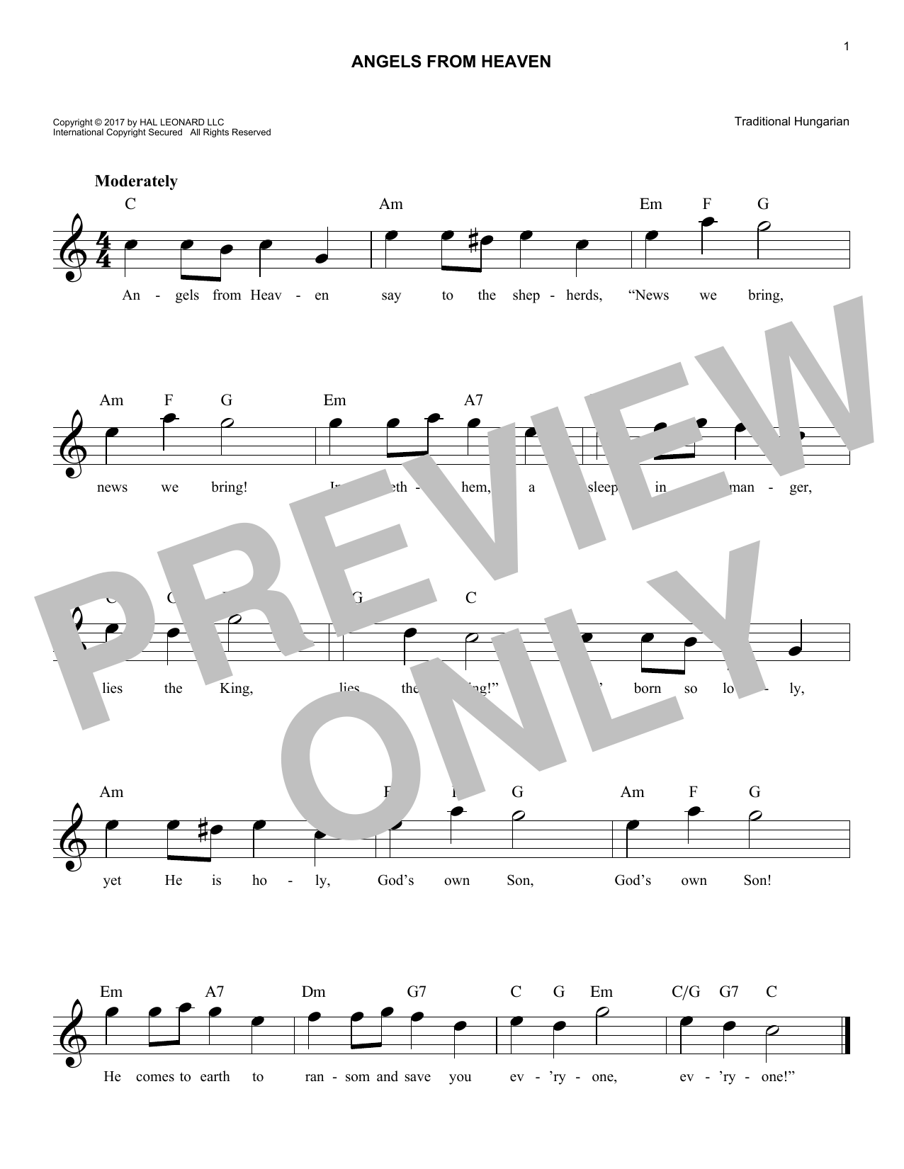 Angels From Heaven (Lead Sheet / Fake Book)