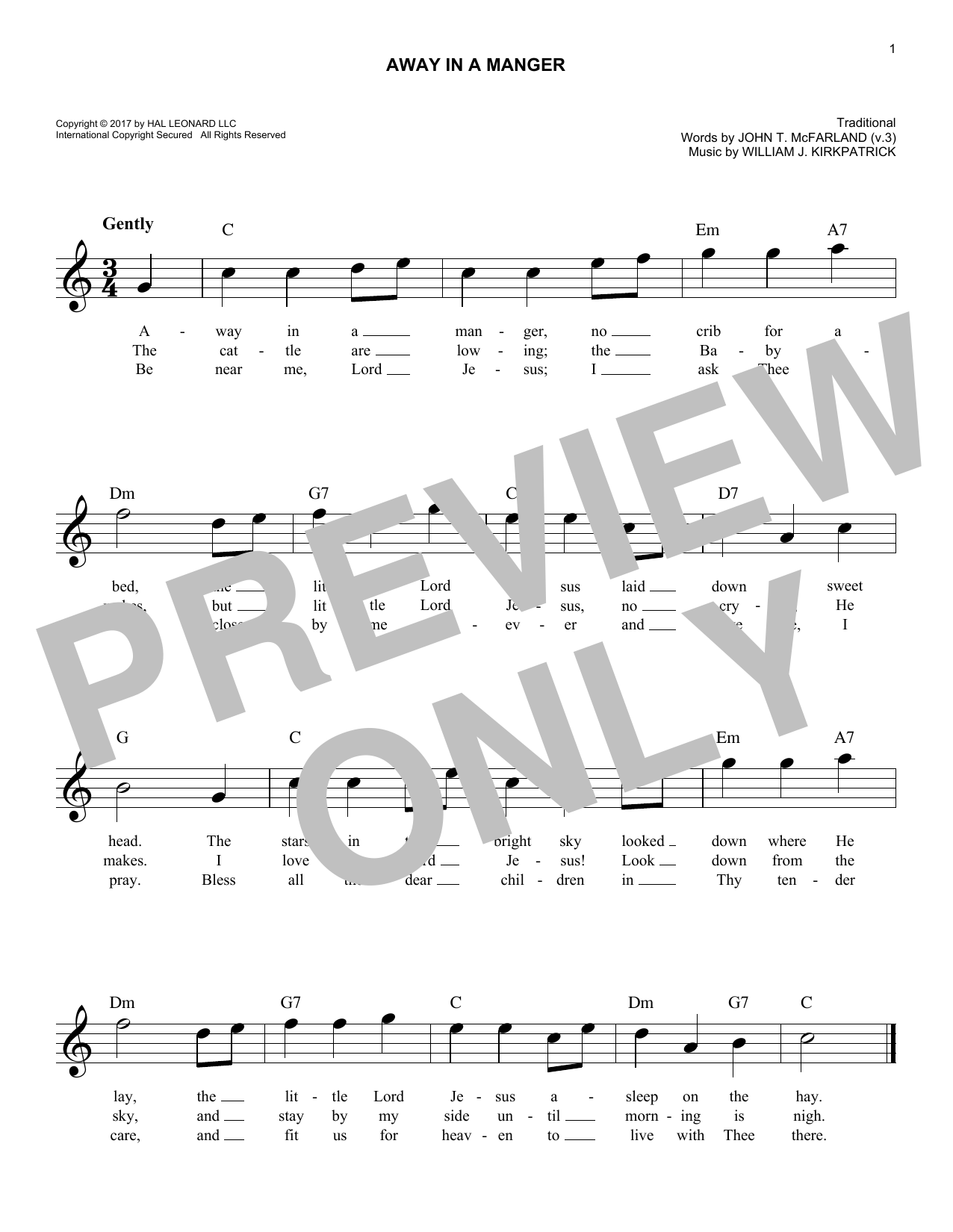 Away In A Manger (Lead Sheet / Fake Book)
