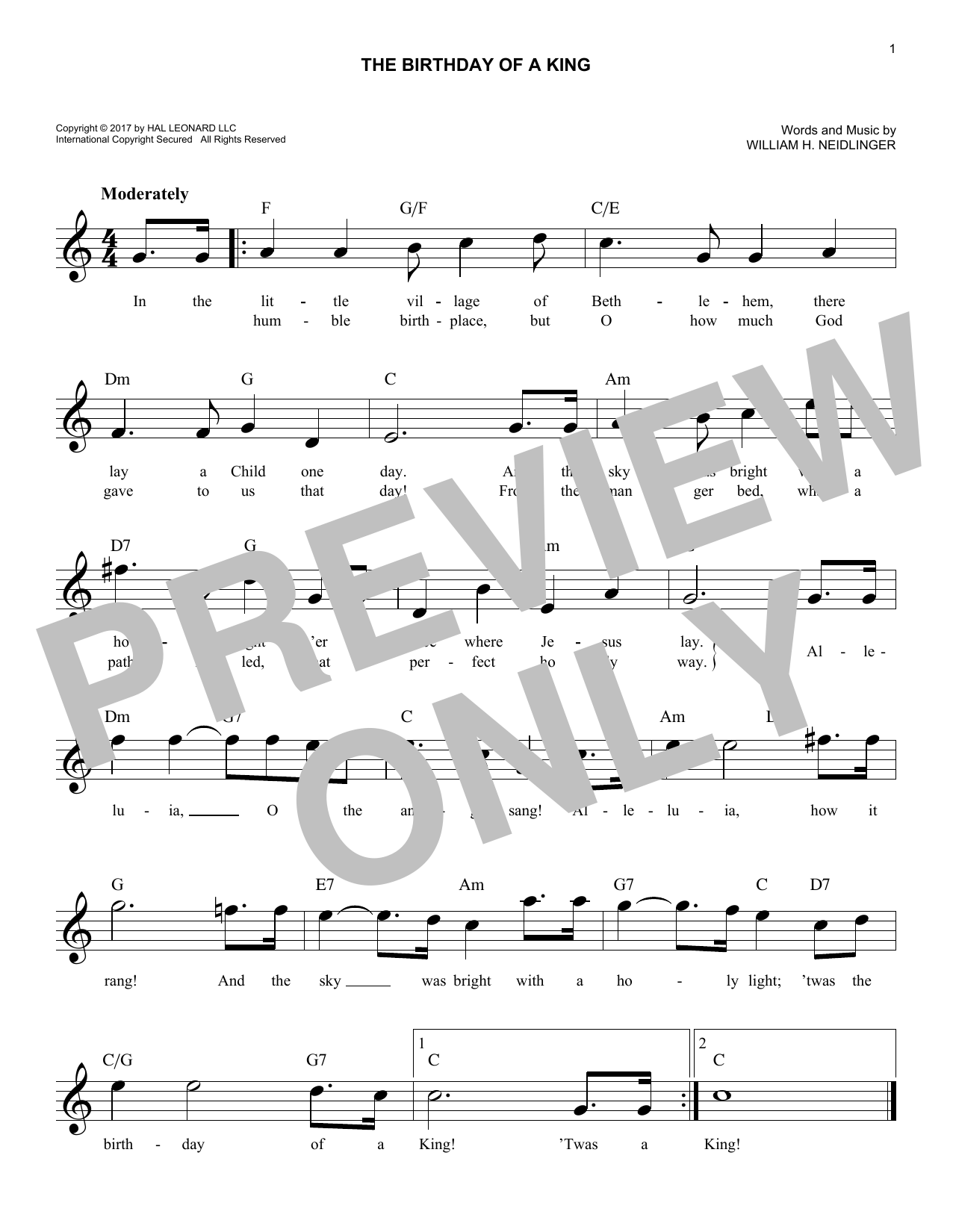 The Birthday Of A King (Lead Sheet / Fake Book)