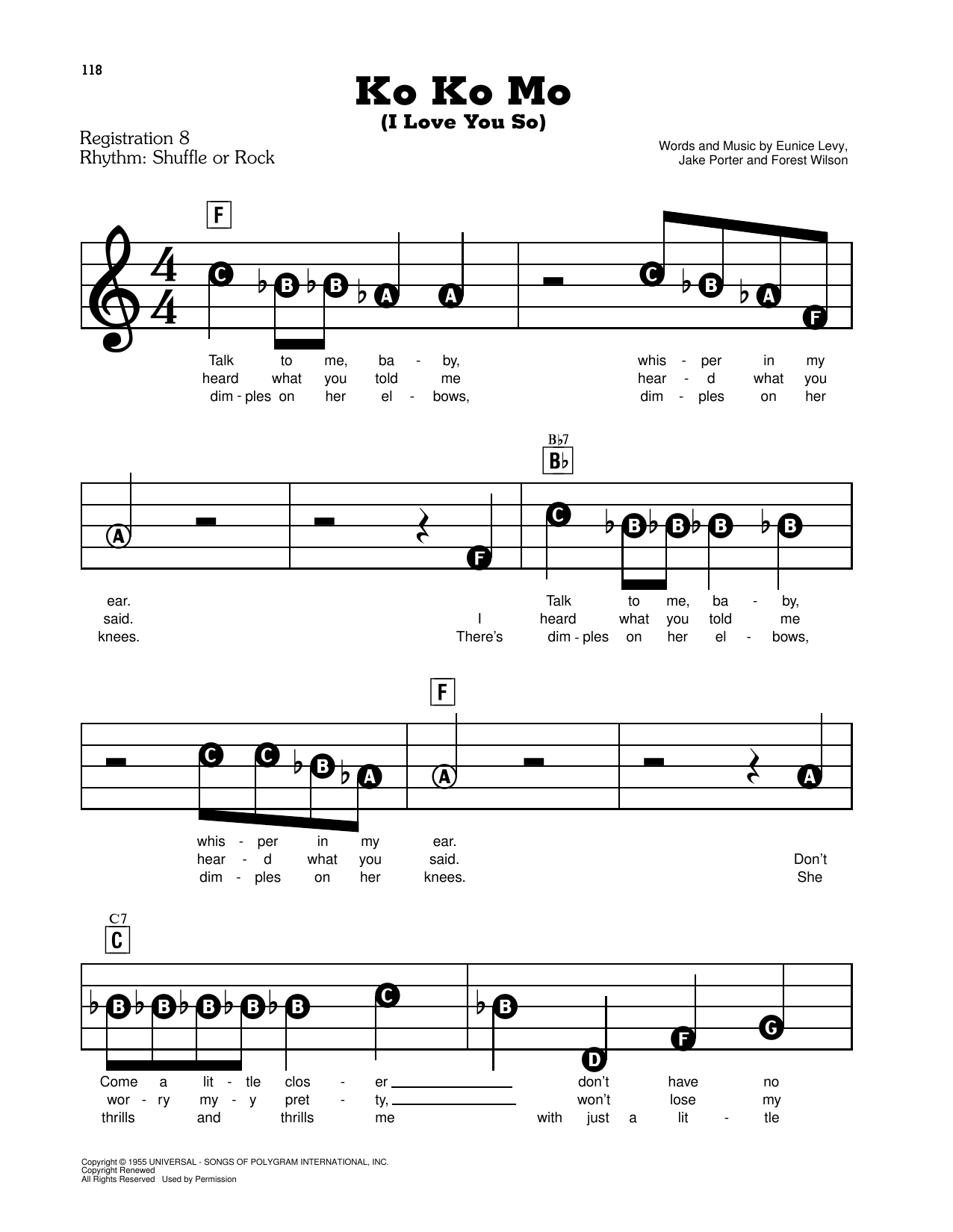 Ko Ko Mo (I Love You So) Sheet Music