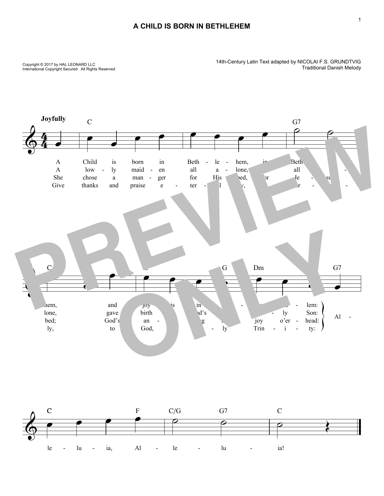 A Child Is Born In Bethlehem (Lead Sheet / Fake Book)