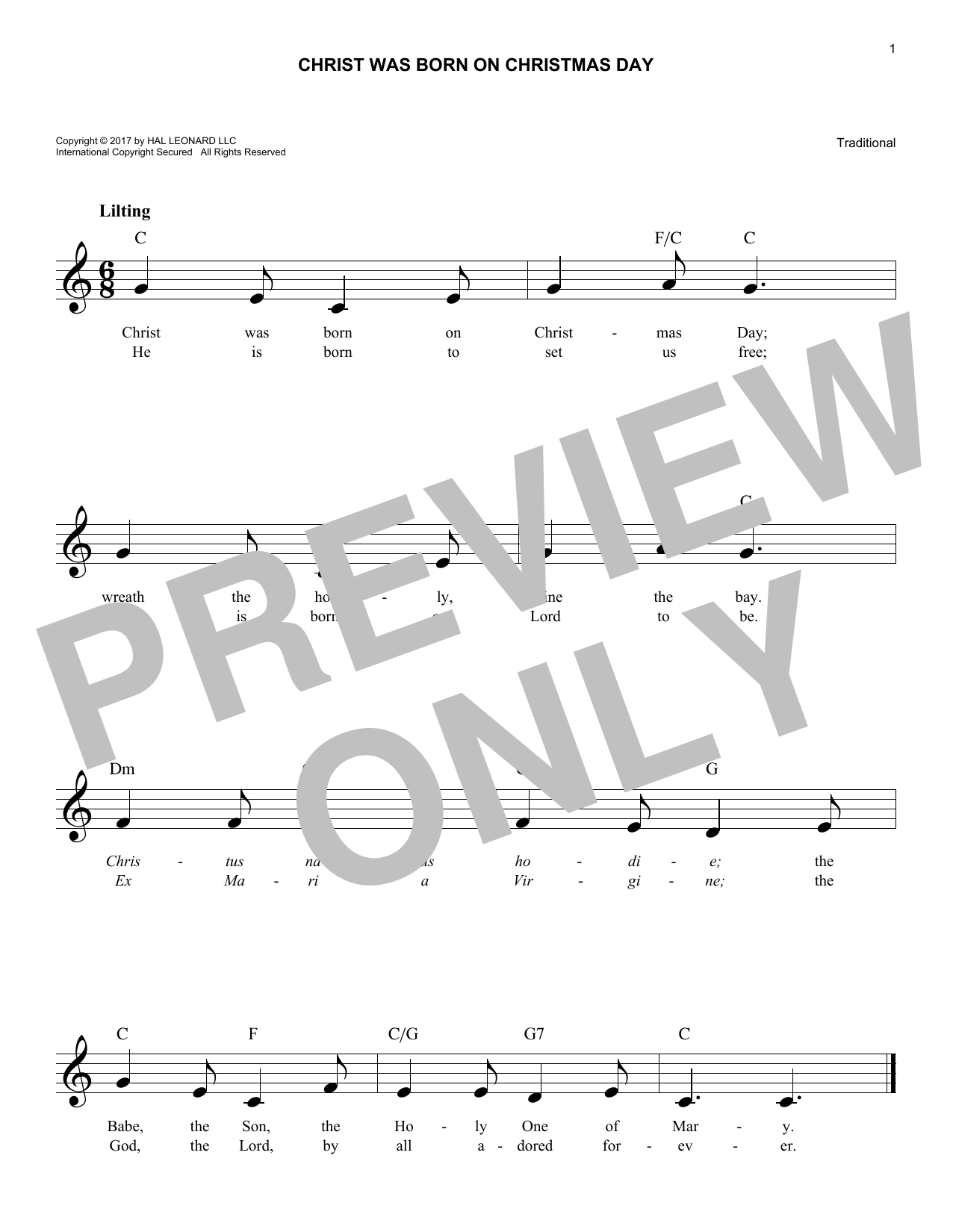 Christ Was Born On Christmas Day (Lead Sheet / Fake Book)
