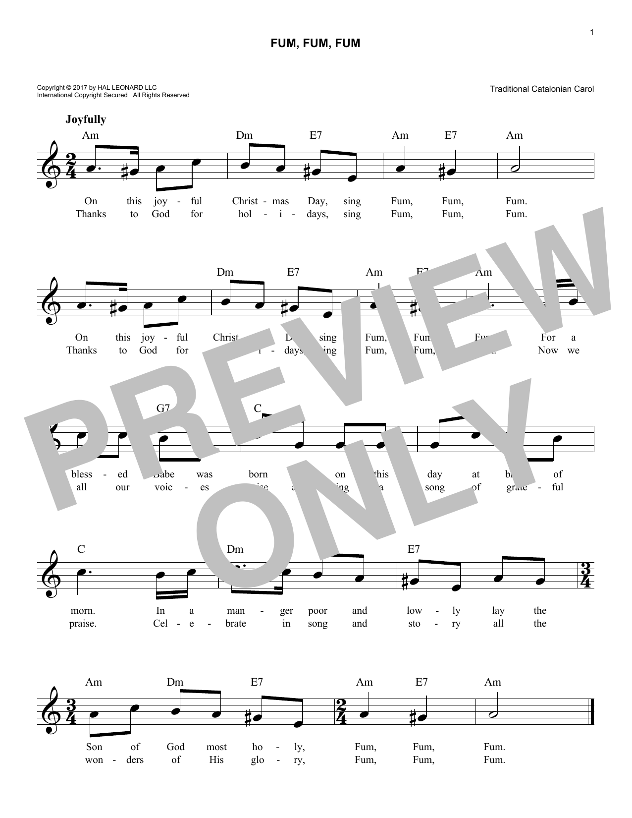 Fum, Fum, Fum (Lead Sheet / Fake Book)