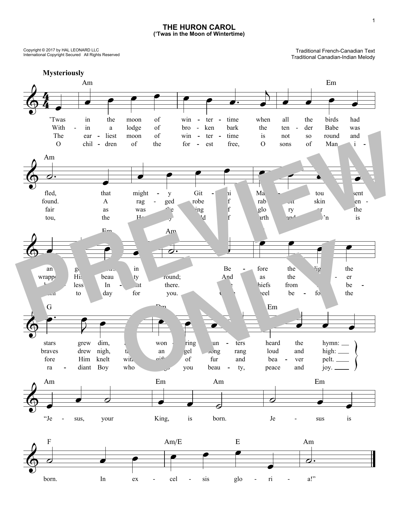 The Huron Carol ('Twas In The Moon Of Wintertime) (Lead Sheet / Fake Book)