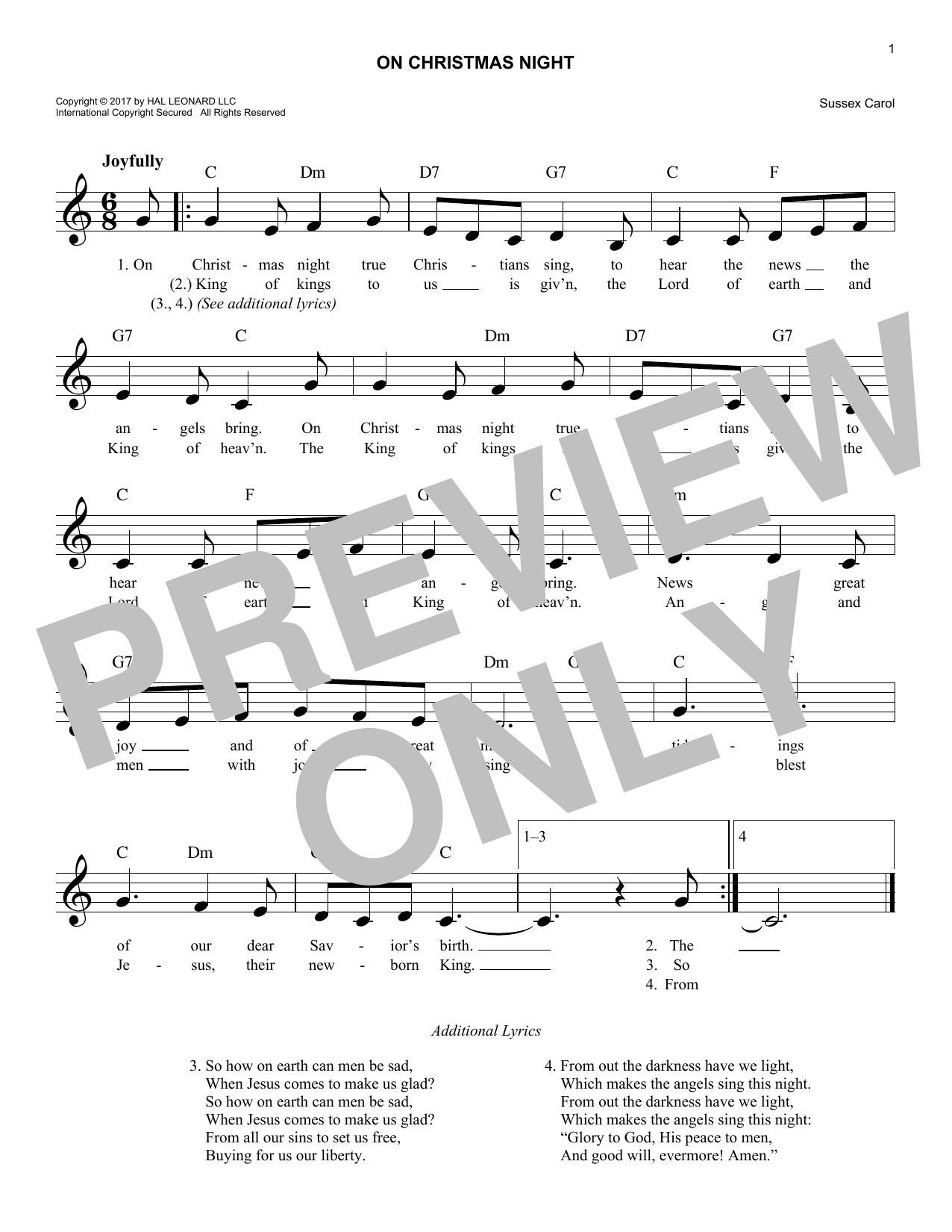 On Christmas Night (Lead Sheet / Fake Book)