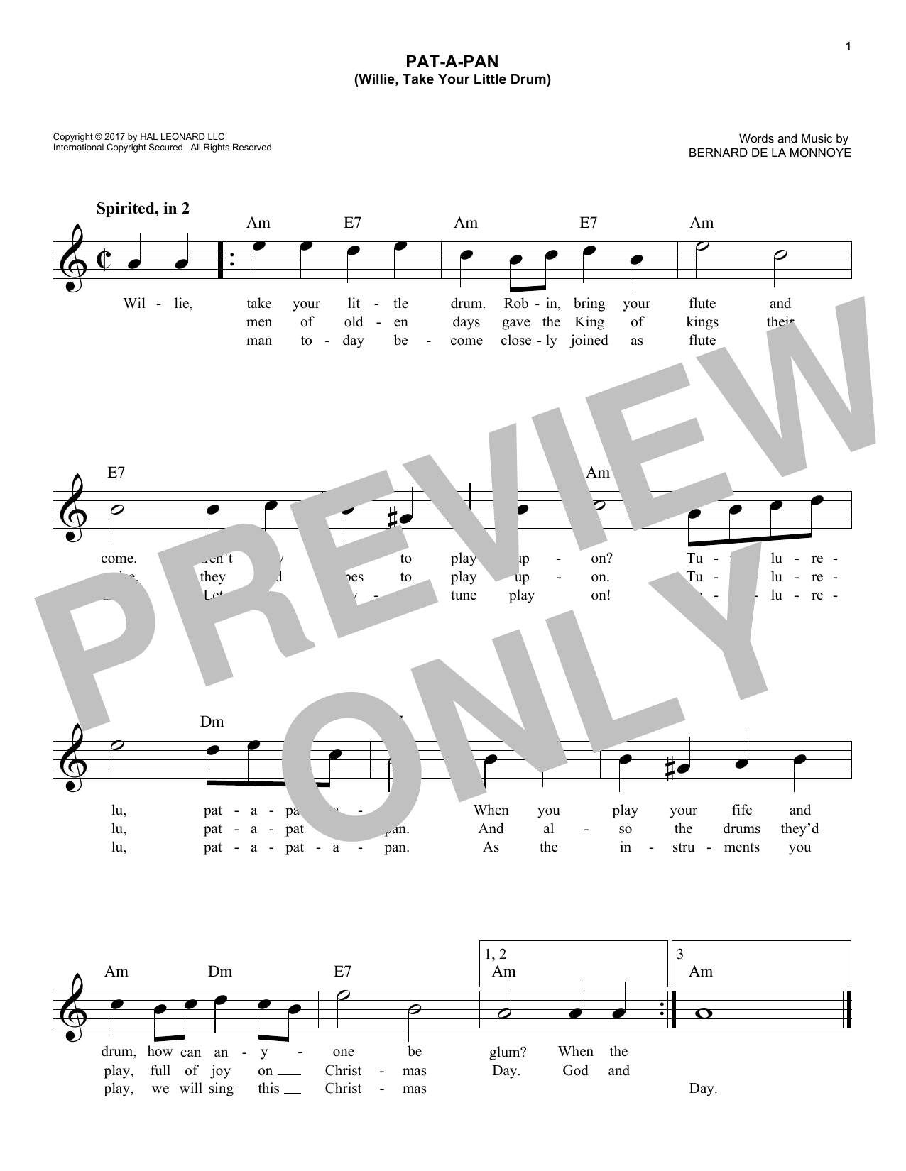 Pat-A-Pan (Willie, Take Your Little Drum) (Lead Sheet / Fake Book)