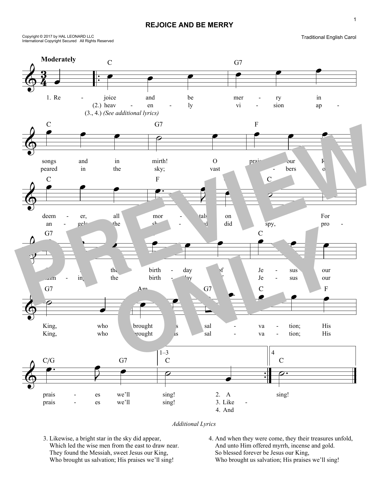 Rejoice And Be Merry (Lead Sheet / Fake Book)