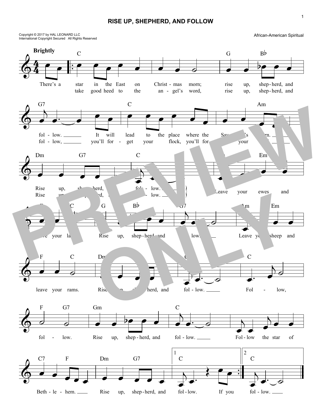 Rise Up, Shepherd, And Follow (Lead Sheet / Fake Book)