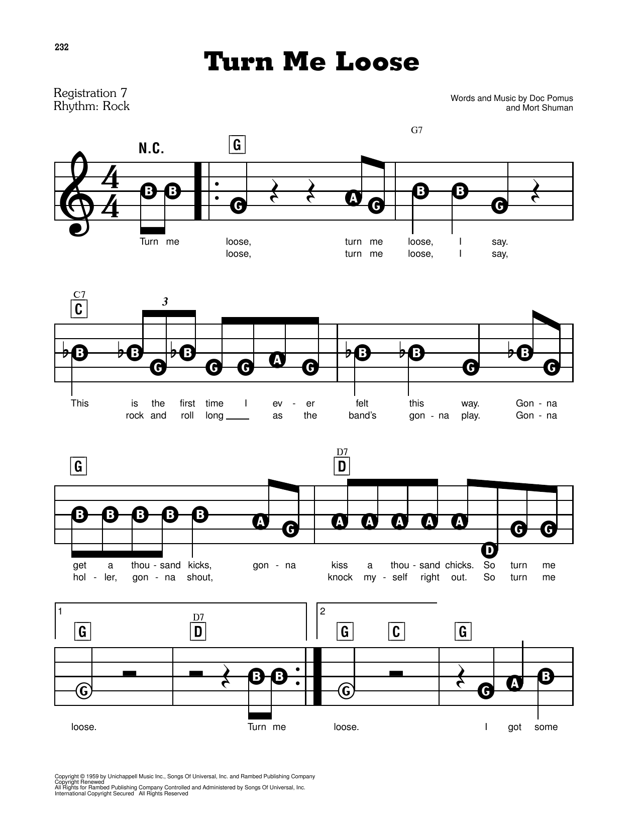 Turn Me Loose Sheet Music