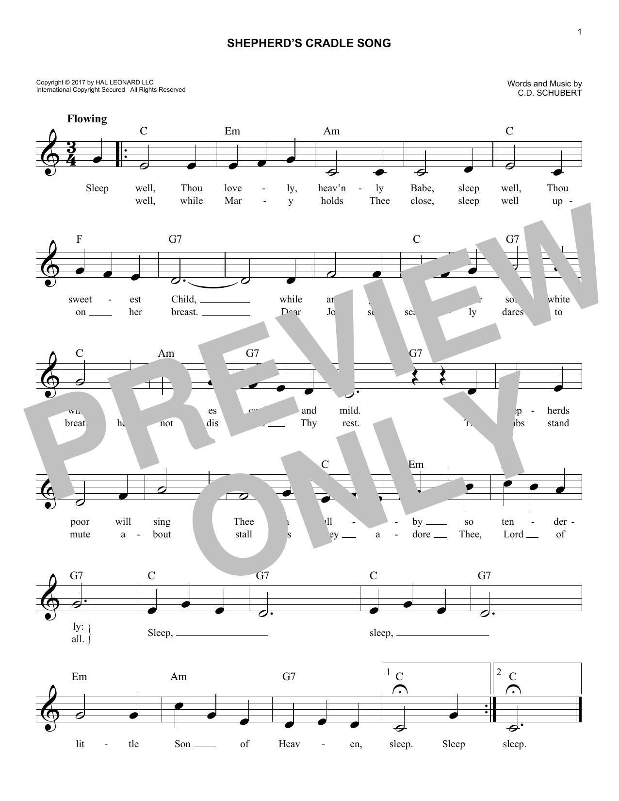 Shepherds' Cradle Song (Lead Sheet / Fake Book)