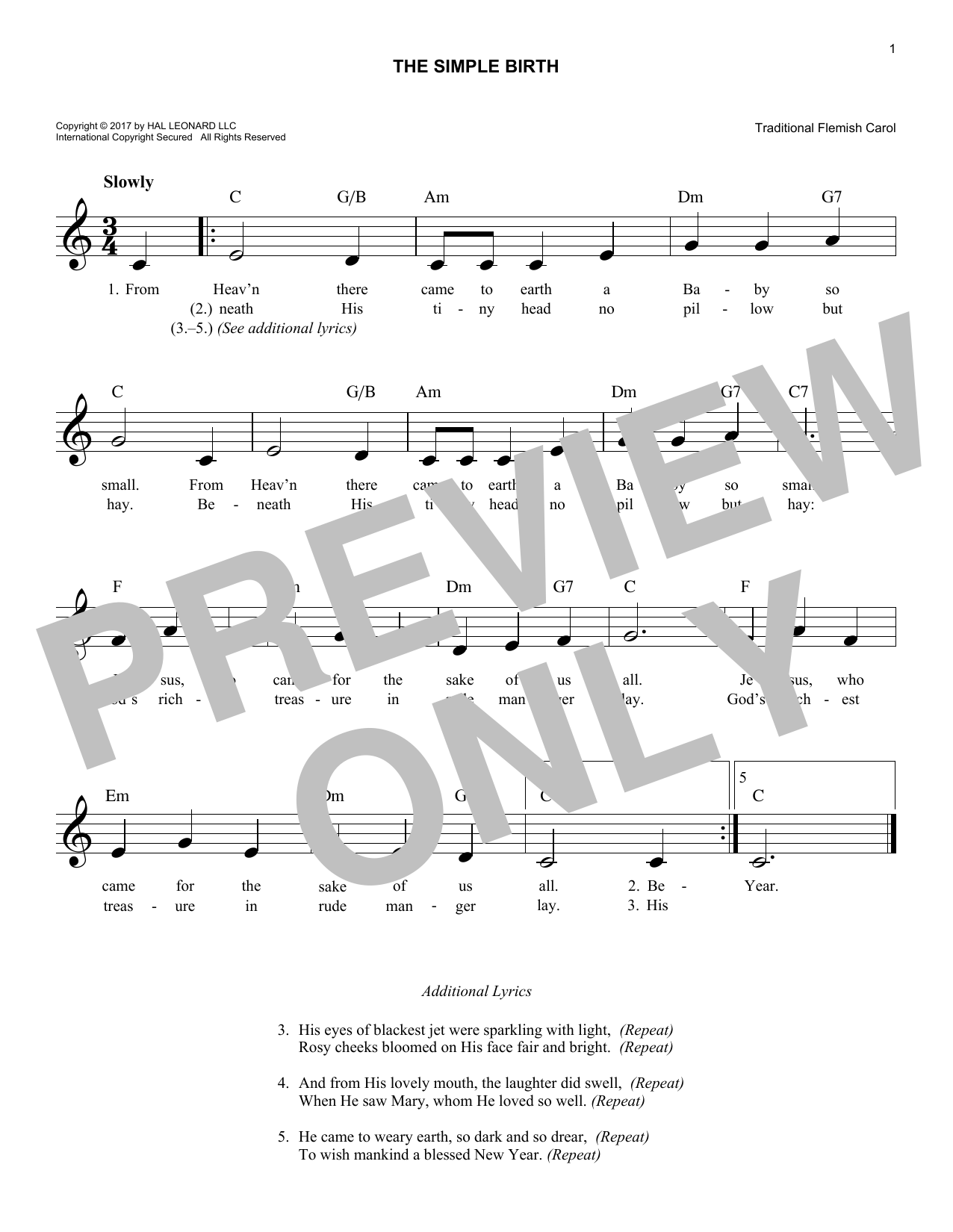 The Simple Birth (Lead Sheet / Fake Book)